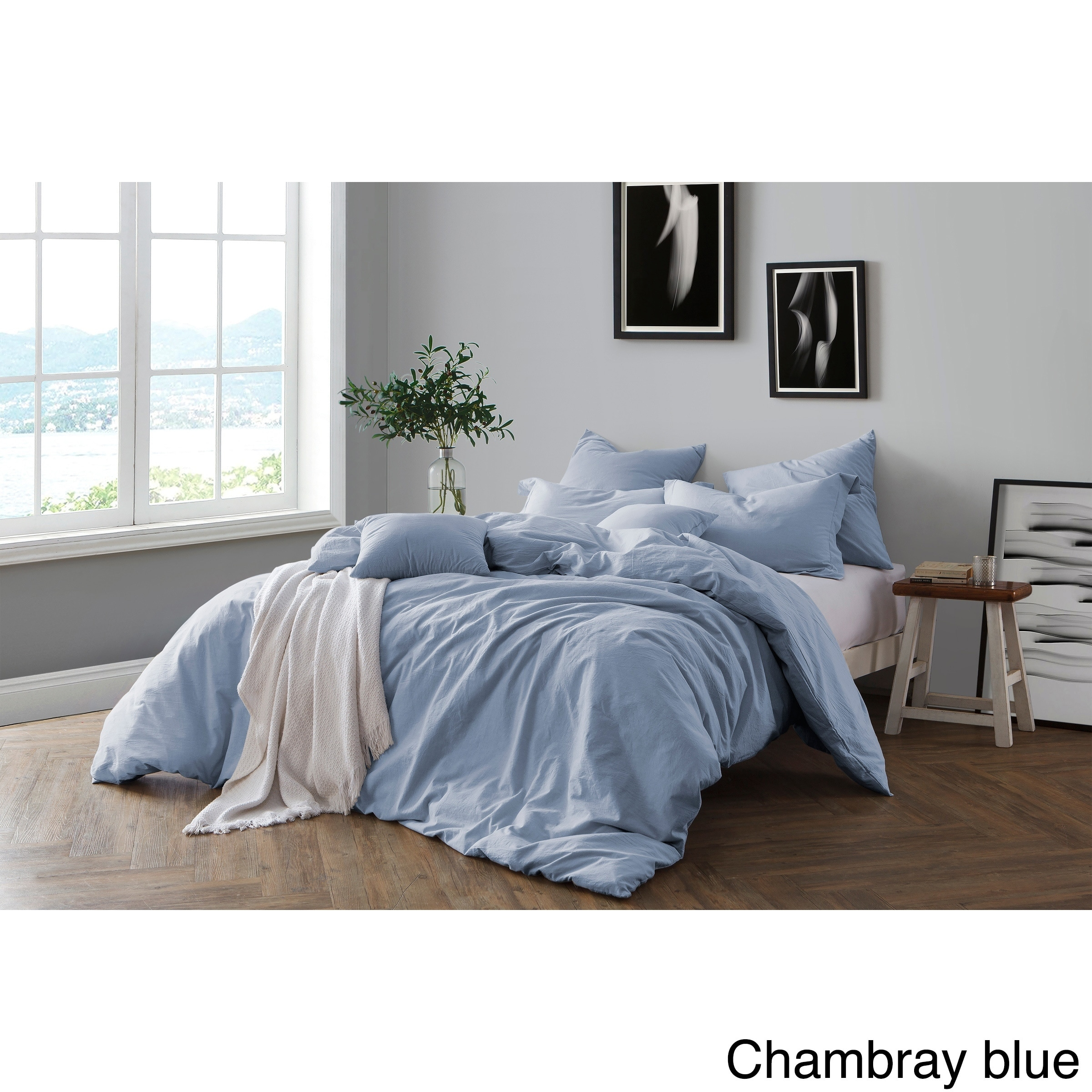 bed cover sets. Shop All Natural Prewashed Yarn Dye 100% Cotton Premium Wrinkled Look Chambray Duvet Cover Set - On Sale Free Shipping Today Overstock.com 18653687 Bed Sets