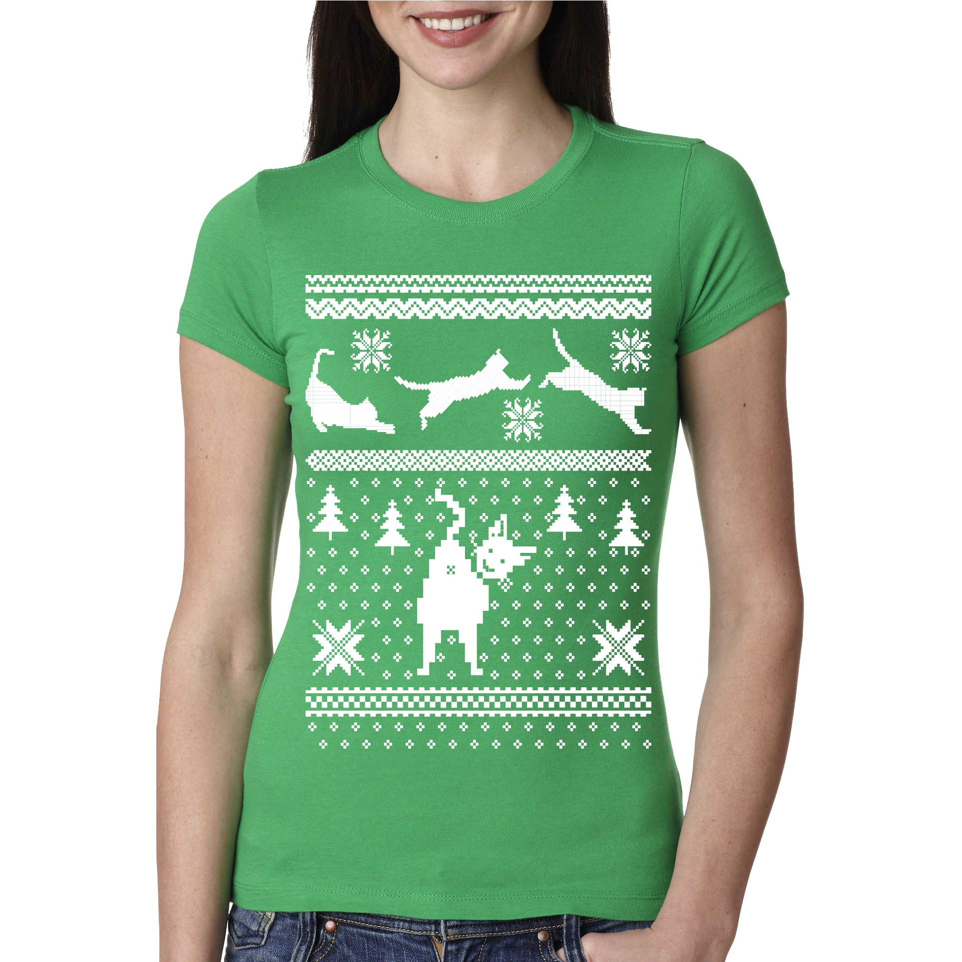 d97c81e0 Shop Women's Jumping Cats T Shirt Funny Ugly Christmas Sweater Kitten Tee  Xmas Shirt - Free Shipping On Orders Over $45 - Overstock - 18654748