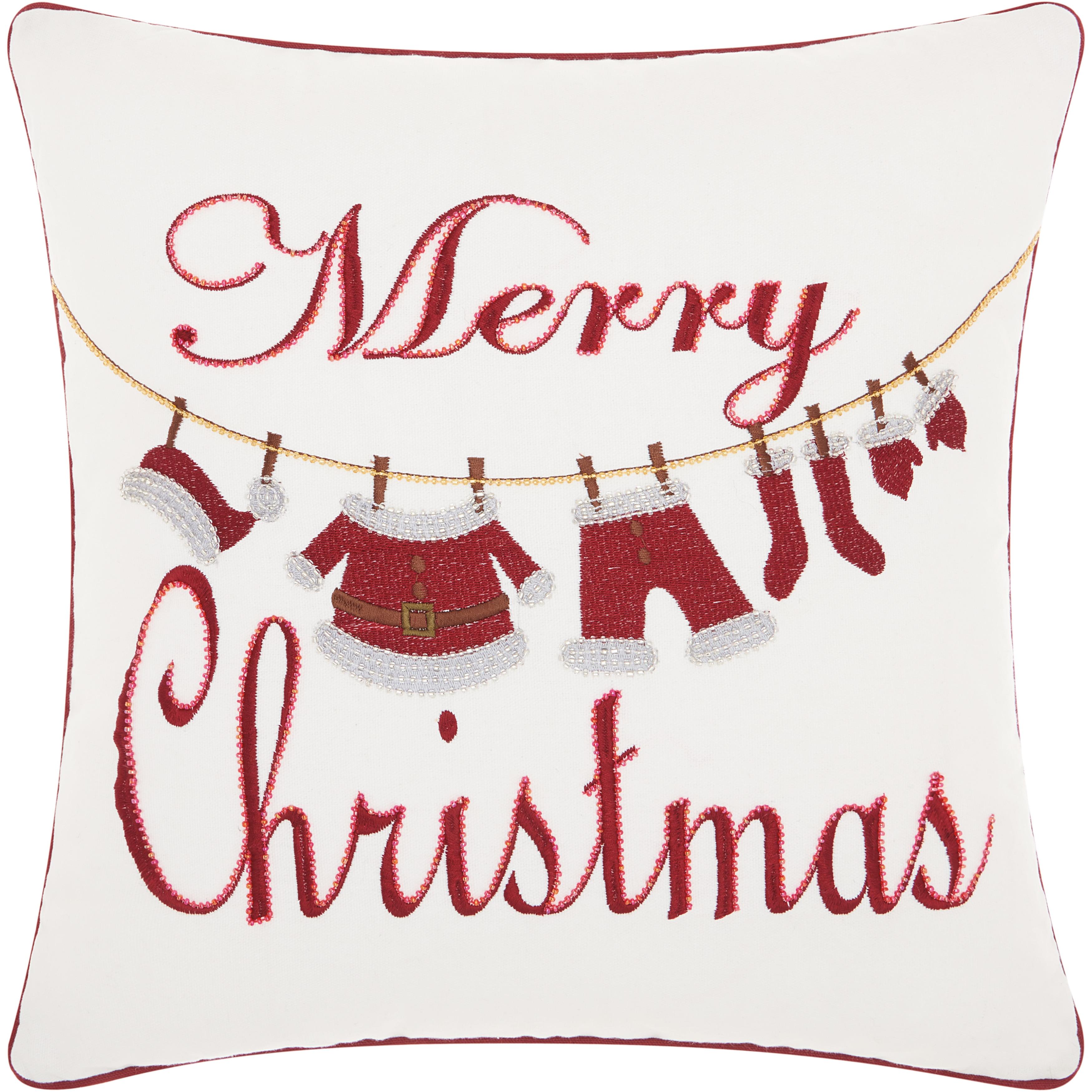 Shop Kathy Ireland Christmas Clothesline White Throw Pillow (16-Inch ...