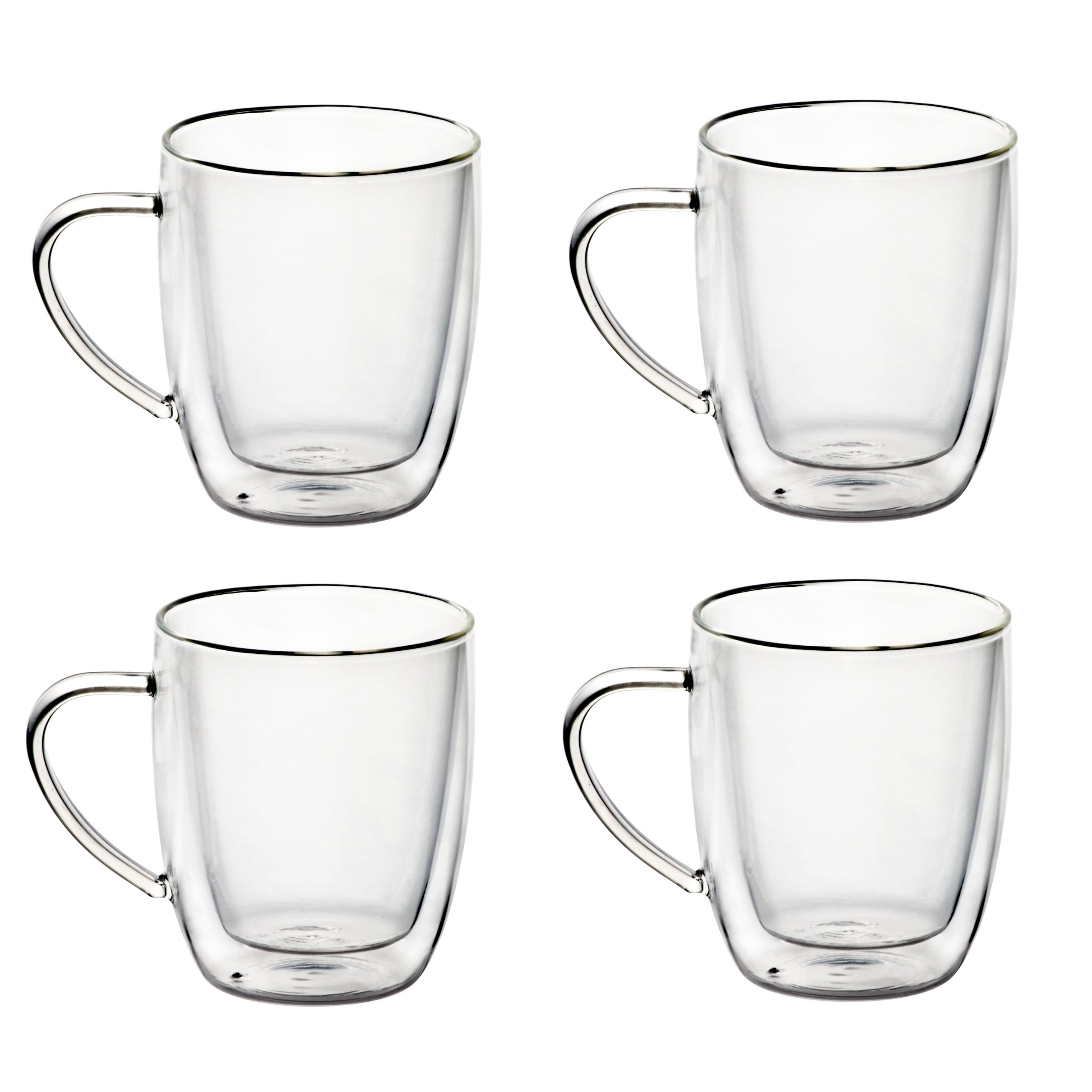 14 Oz Gl Coffee Mugs Double Walled Gles Set Of 4 On Free Shipping Orders