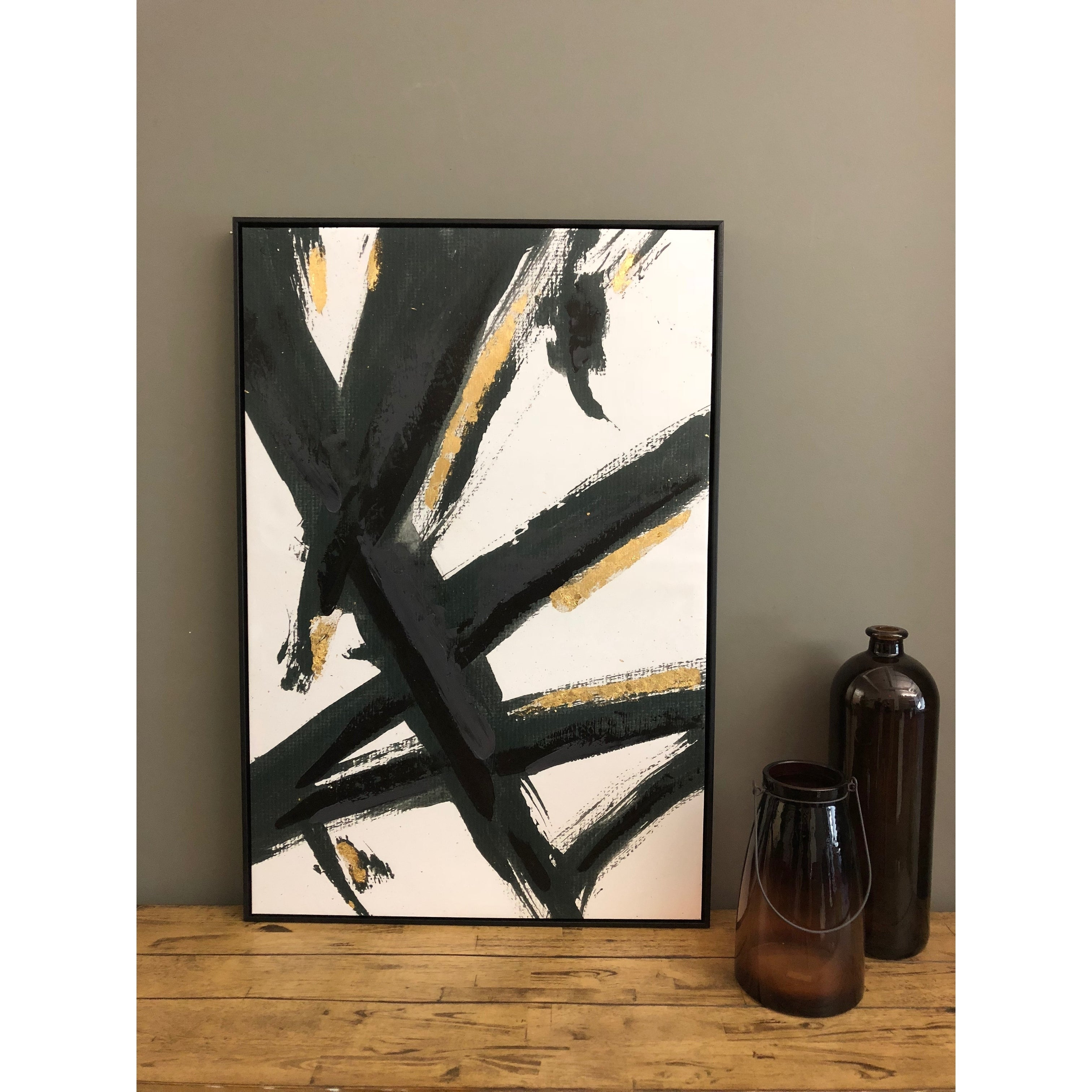 Boston Warehouse 24x36 Framed Abstract Brushstrokes Canvas Art By ...