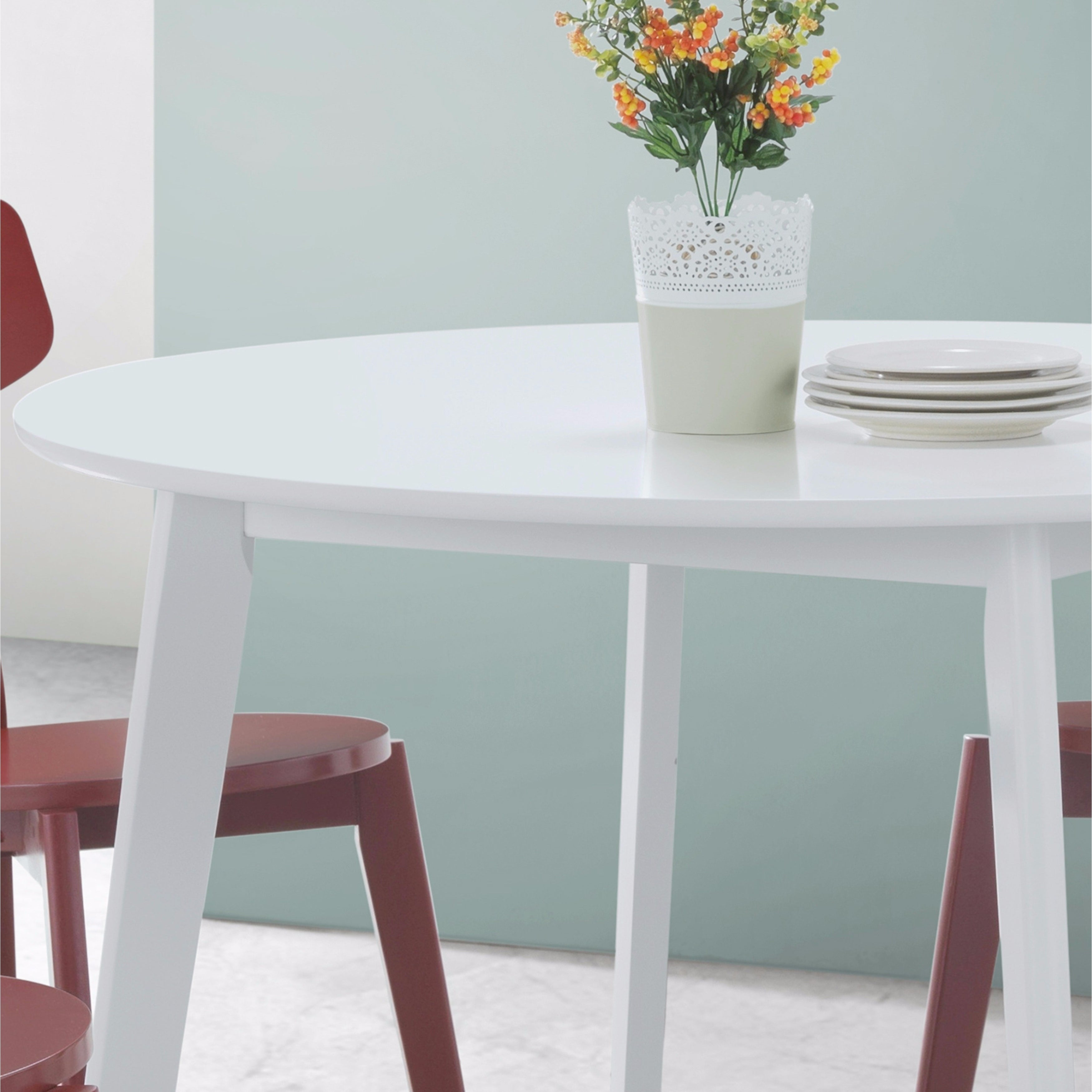 Roma Contemporary White Round Dining Table - Free Shipping Today ...