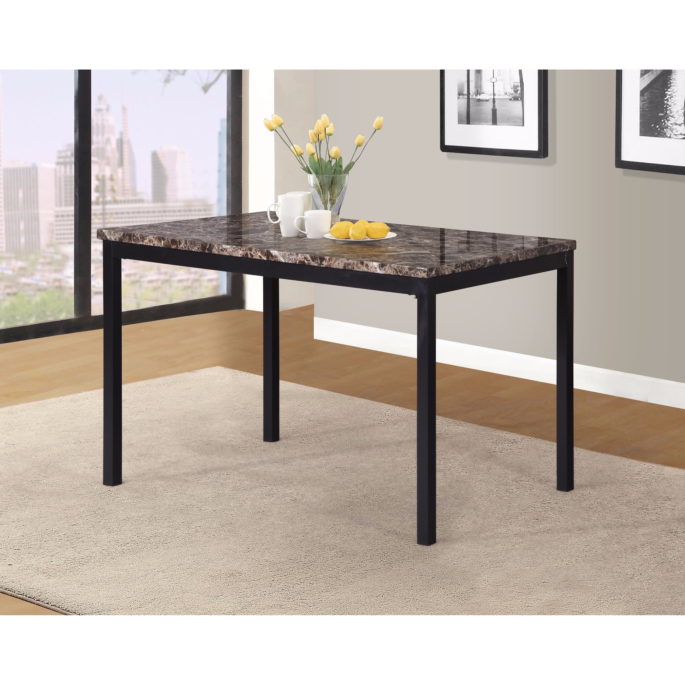 Shop noyes metal dining table with laminated faux marble top black free shipping today overstock com 18656834