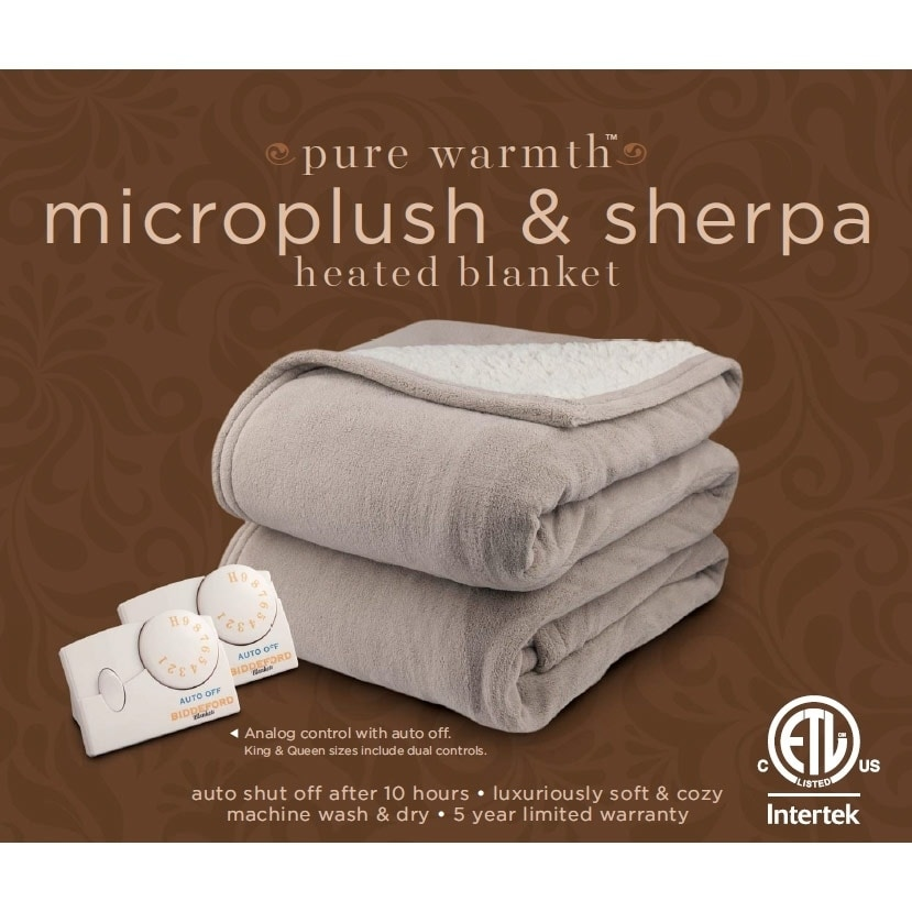Pure Warmth By Biddeford Microplush Sherpa Electric Heated Blanket