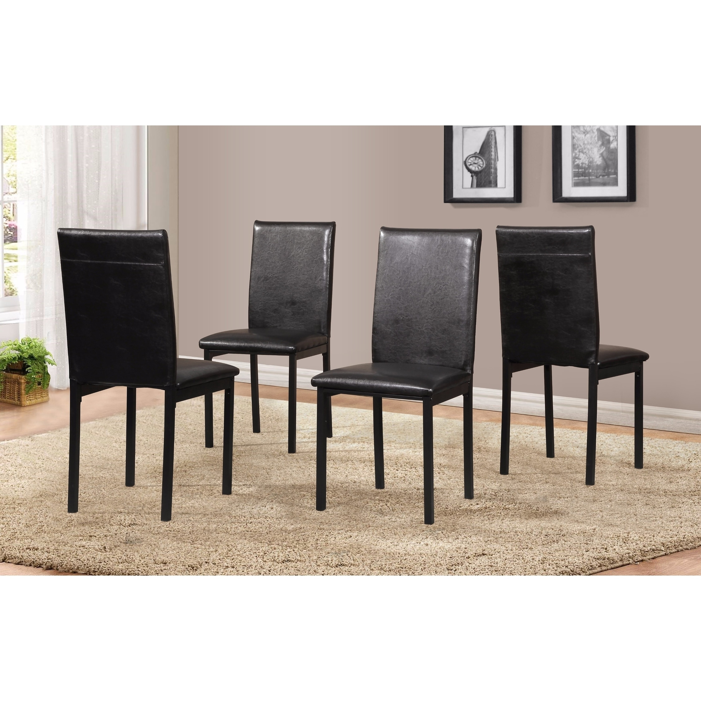 Noyes Faux Leather Seat Metal Frame Black Dining Chairs Set Of 4 Free Shipping Today 18657016