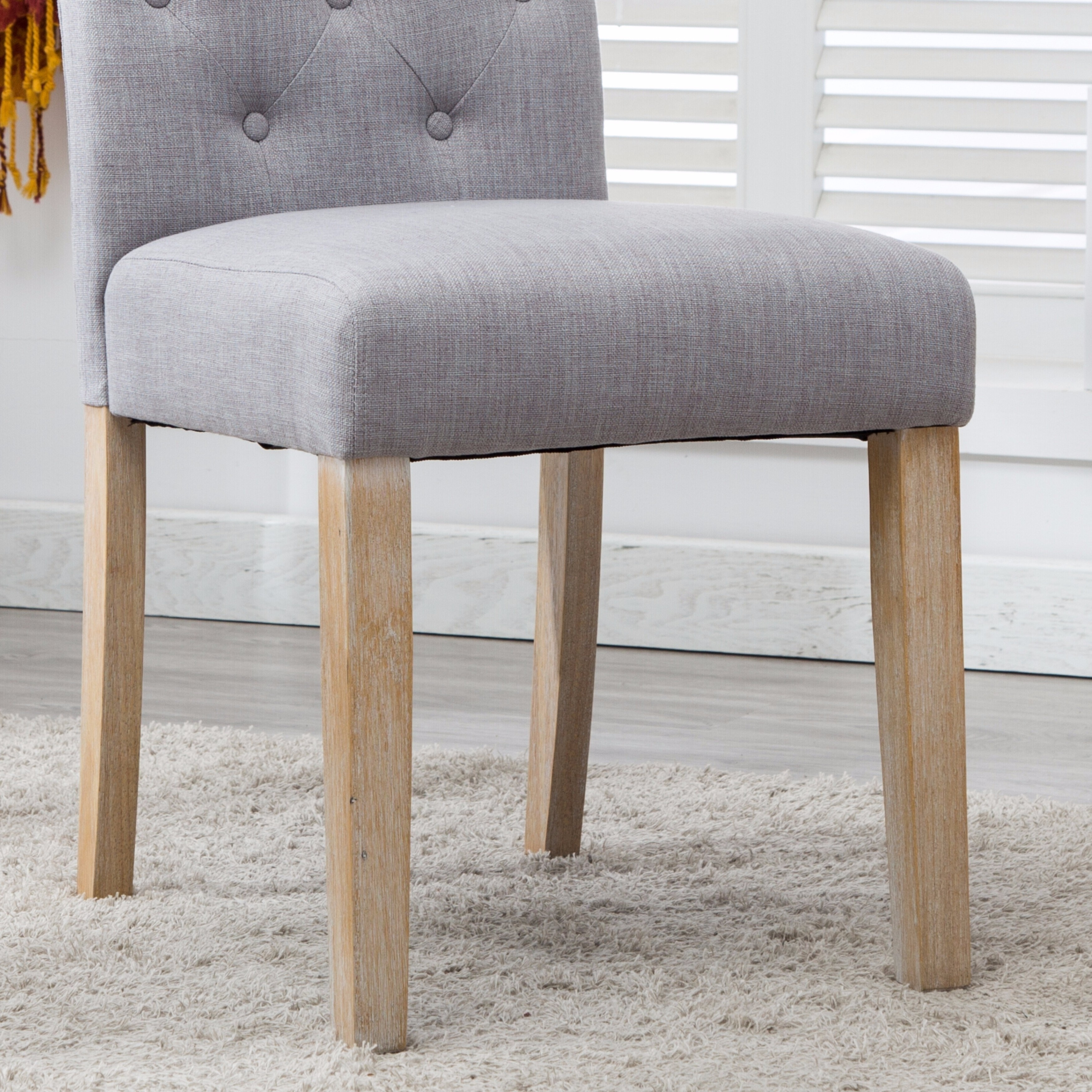 Shop Binningen Fabric Button Tufted Dining Chairs Set Of 2 Free