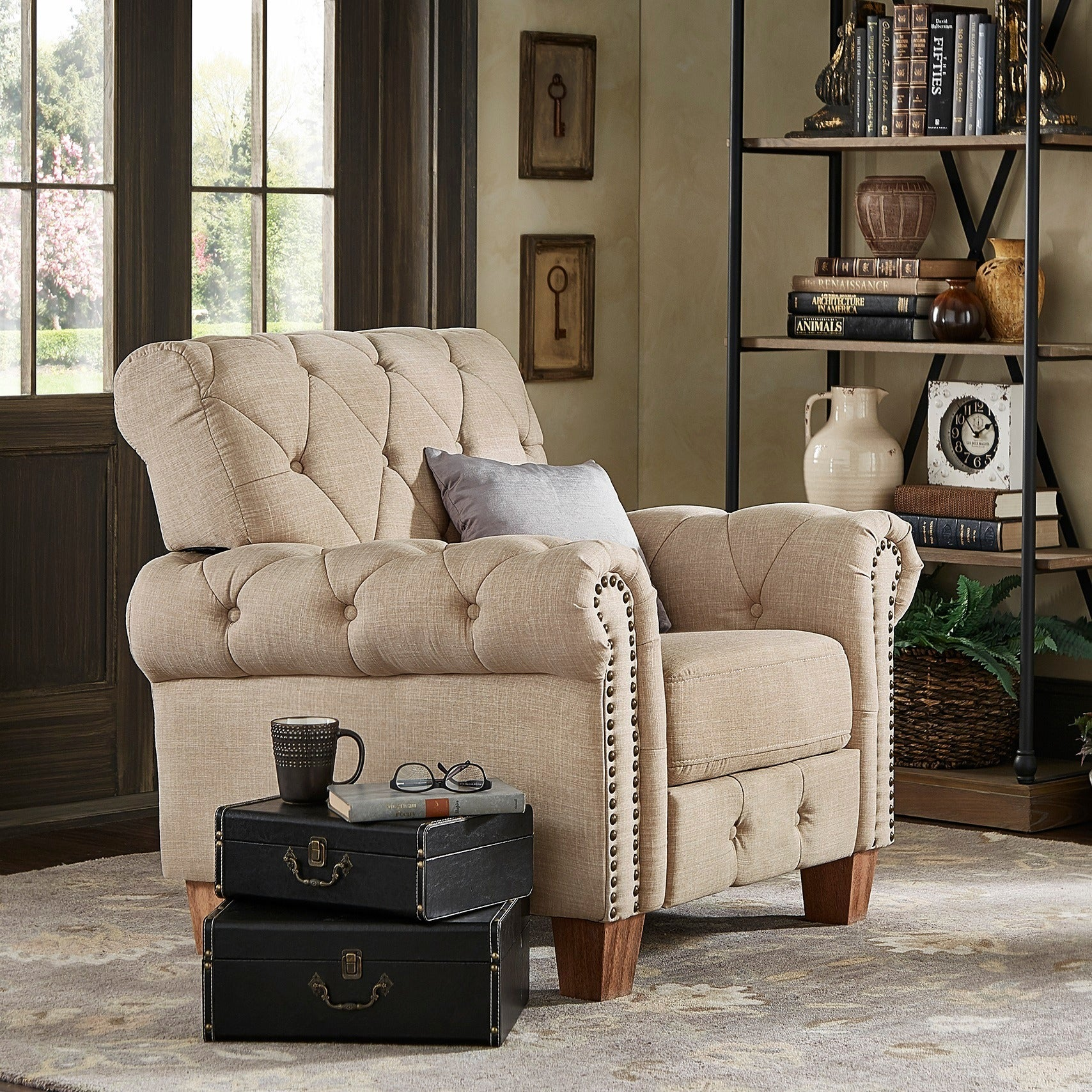 Shop Greenwich Tufted Beige Linen Chesterfield Recliner by iNSPIRE Q