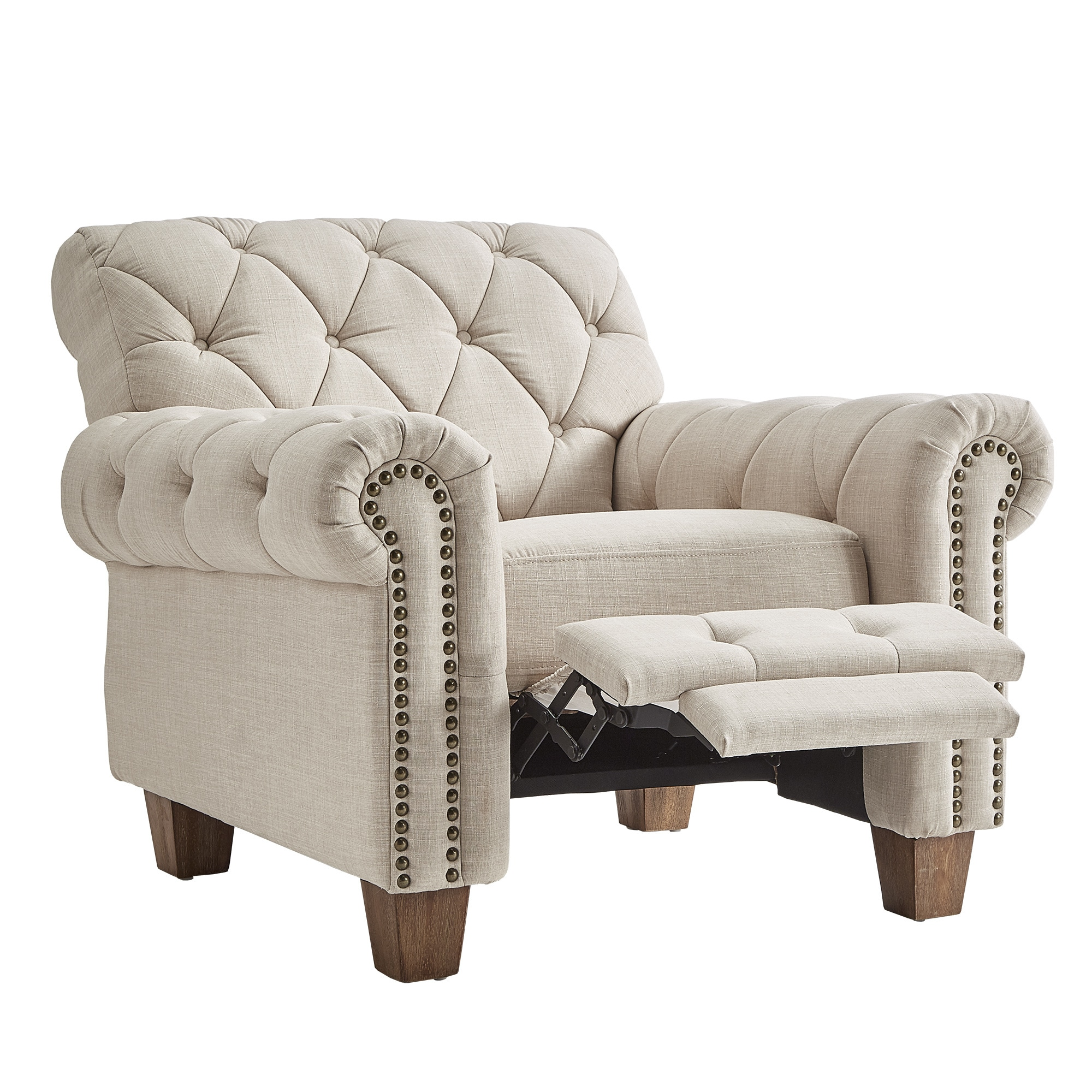 Gentil Shop Greenwich Tufted Beige Linen Chesterfield Recliner By INSPIRE Q  Artisan   On Sale   Free Shipping Today   Overstock.com   18657899