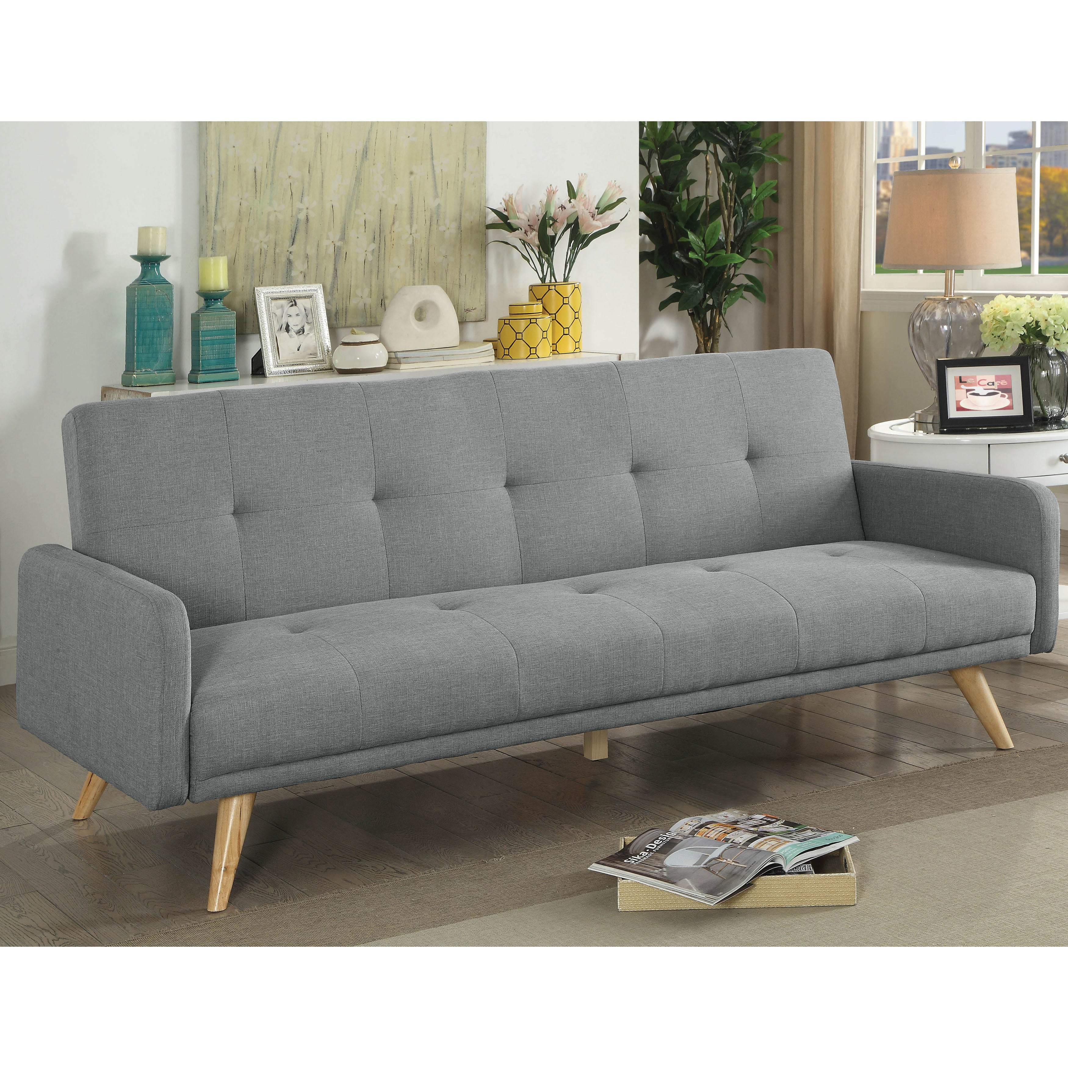 Shop furniture of america millel grey mid century modern tufted futon sofa free shipping today overstock com 18657902