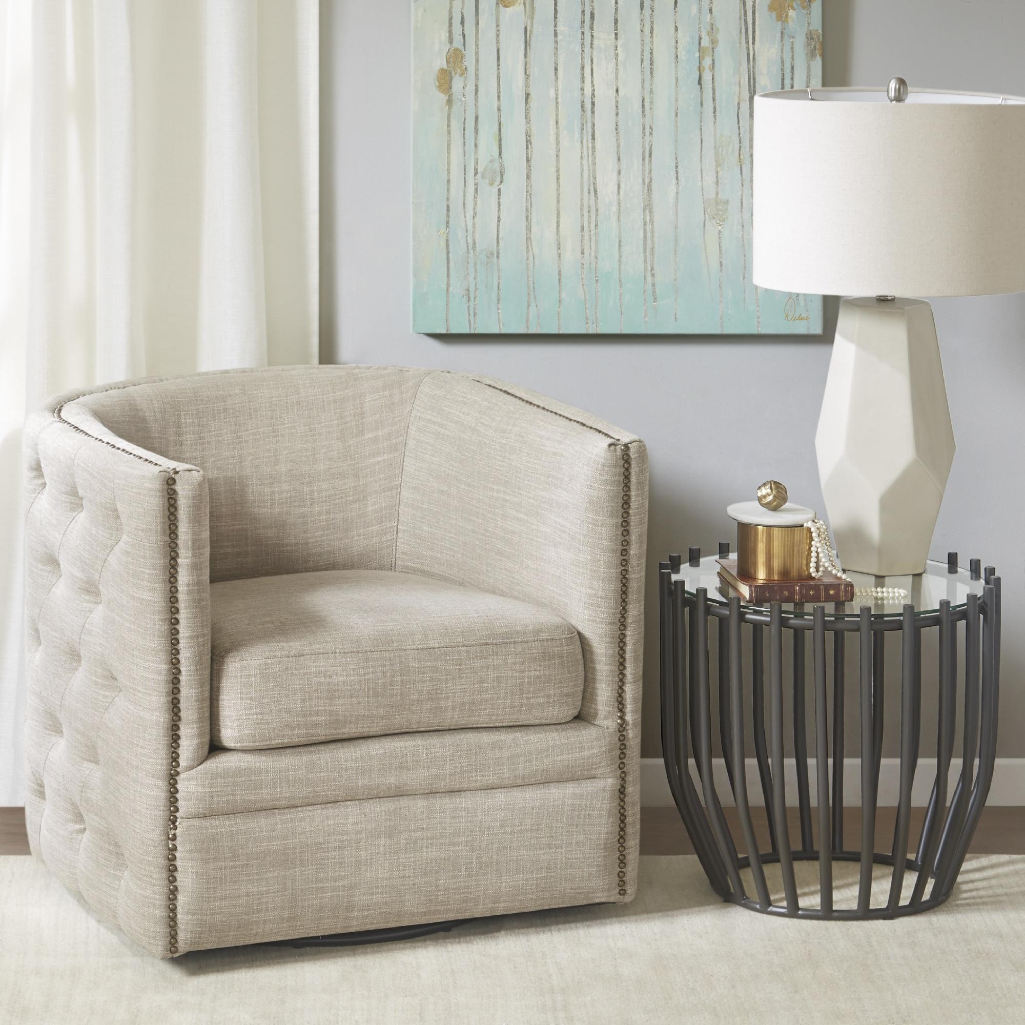 Madison park wilmette cream linen upholstered swivel chair
