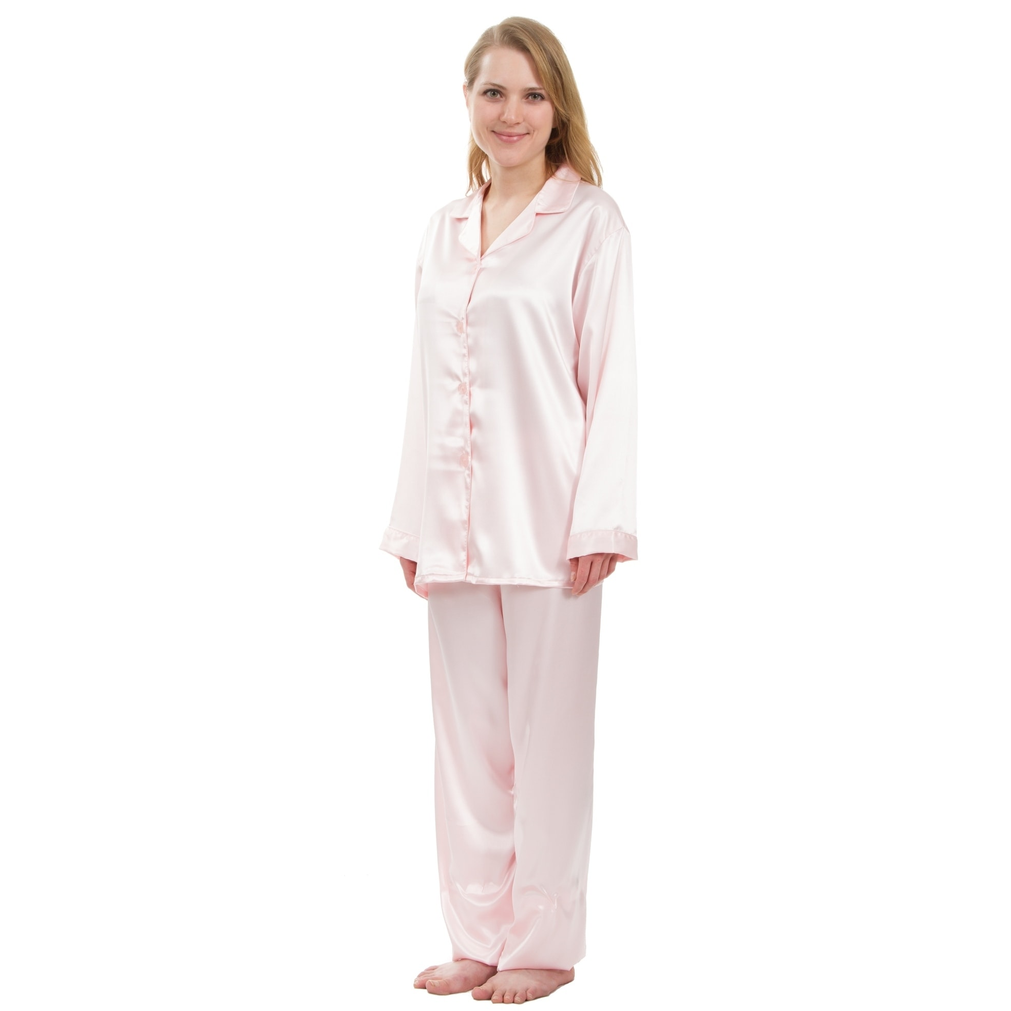 0699ad48e Shop Leisureland Classic Women s Stretch Satin Pajama Set - Free Shipping  On Orders Over  45 - Overstock - 18658572