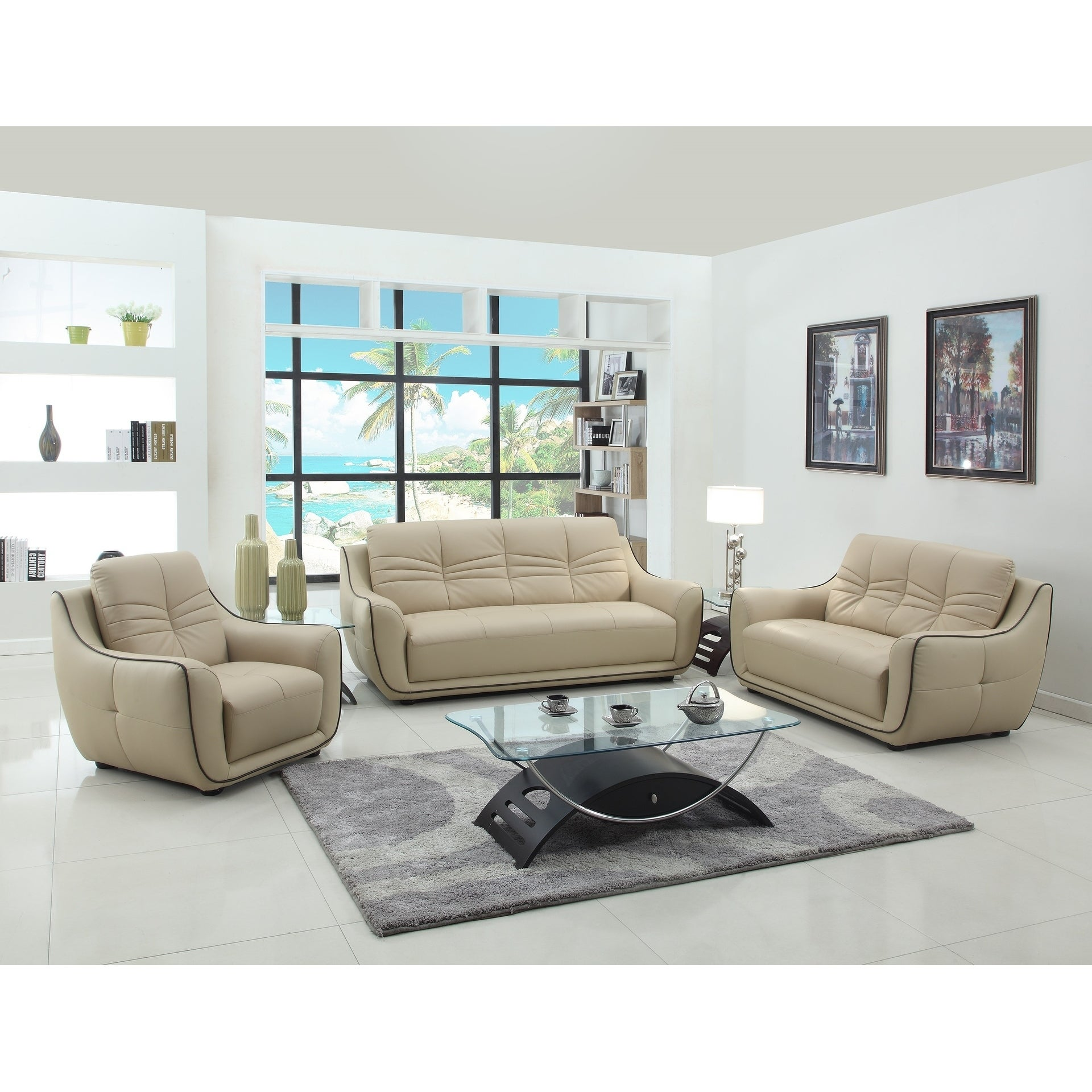 Sampson Leather Air/Match 3-Piece Living Room Sofa Set - Free ...