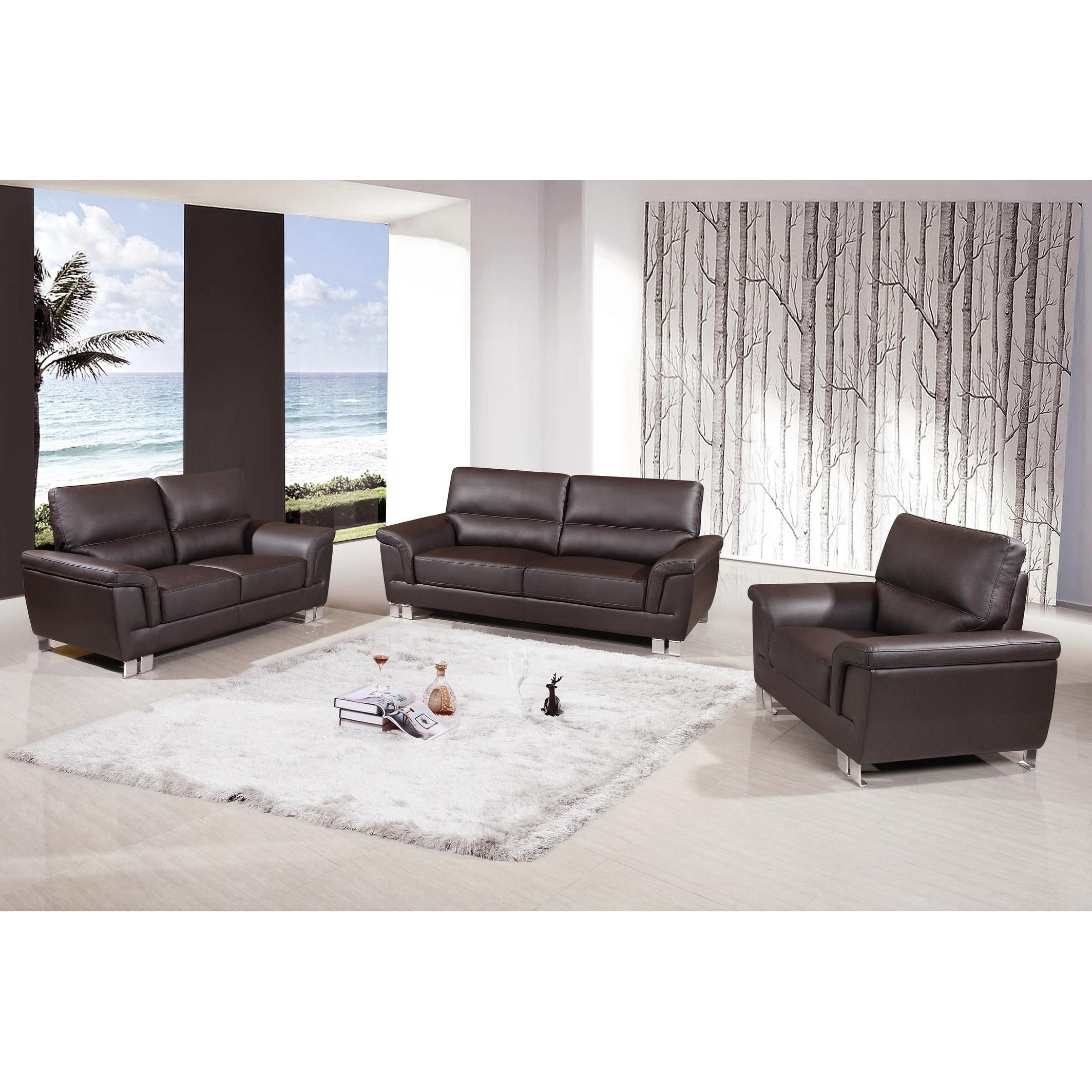 Watson Leather Gel/Match Upholstered 3-Piece Living Room Sofa Set ...