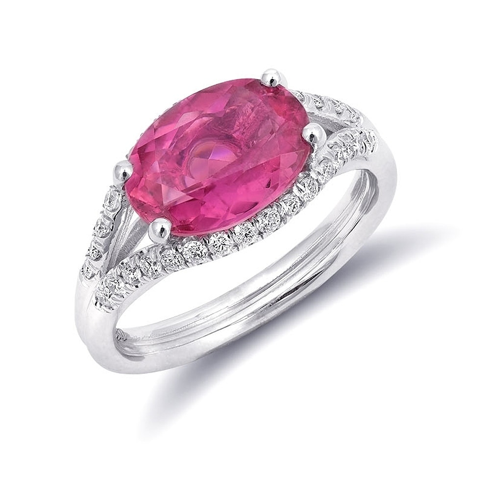 Shop 14k White Gold 2.61ct TGW Pink Tourmaline and White Diamond One ...