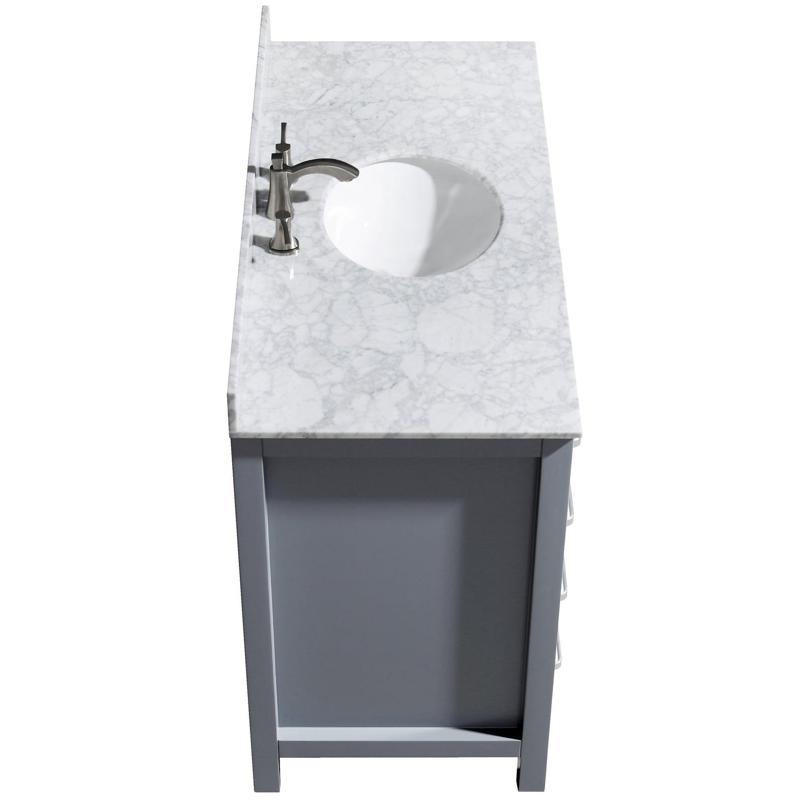 Shop ANZZI Chateau 48 in. W x 36 in. H Grey Single Sink Vanity Set ...