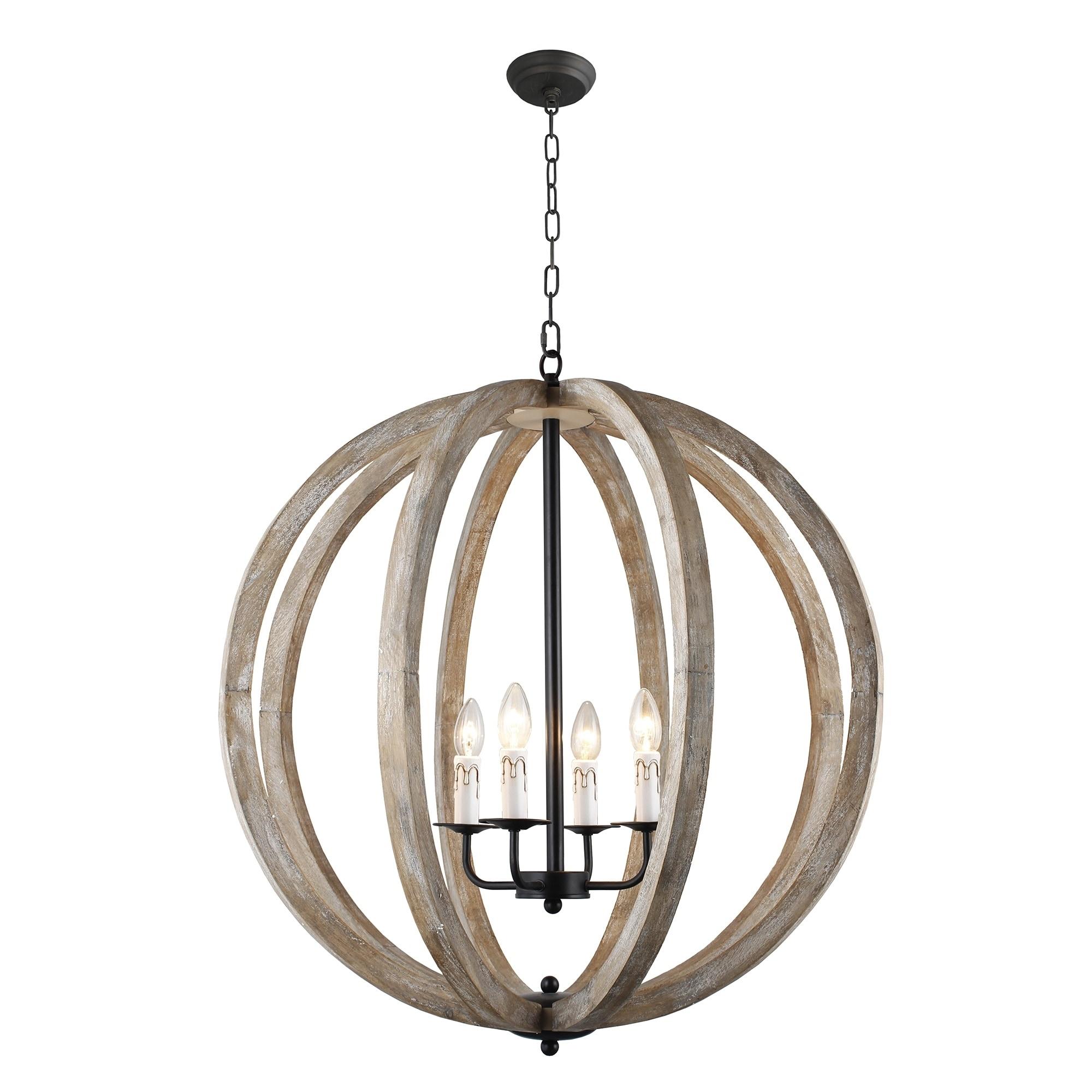 Y Decor Capoli 4 Light Wooden Orb