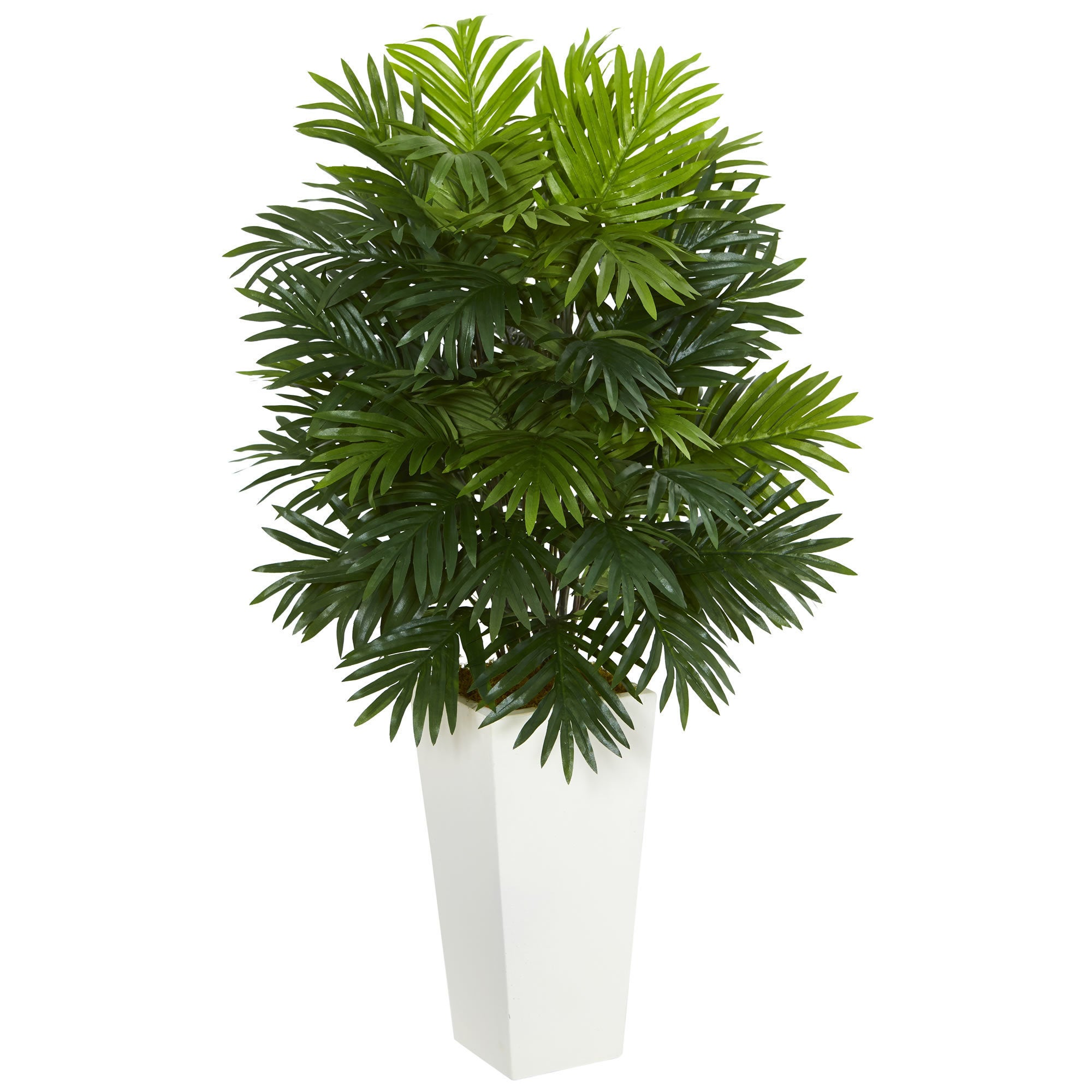 Shop Areca Palm Artificial Plant In White Tower Planter On Sale