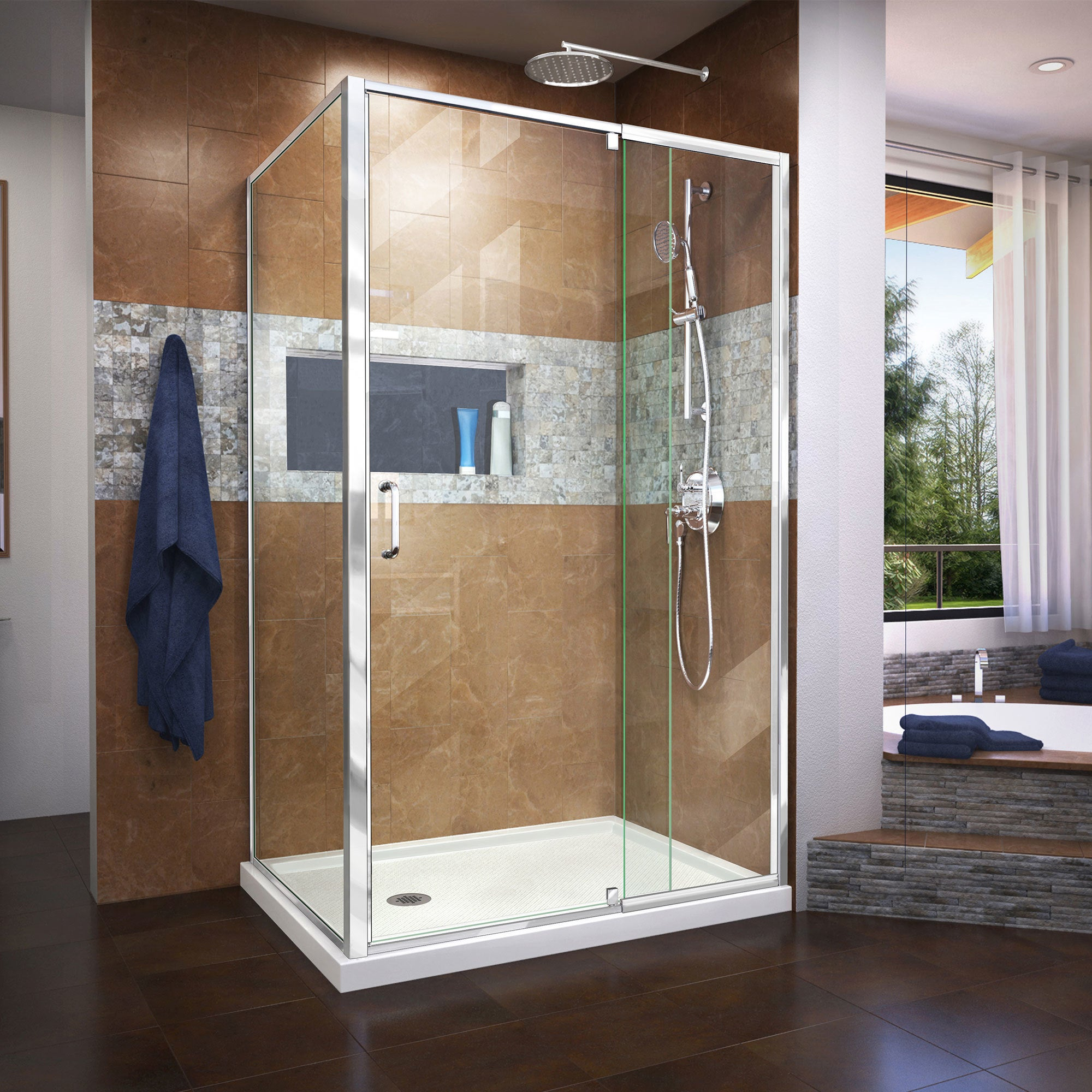 Shop Dreamline Flex 36 In D X 48 In W X 74 34 In H Frameless