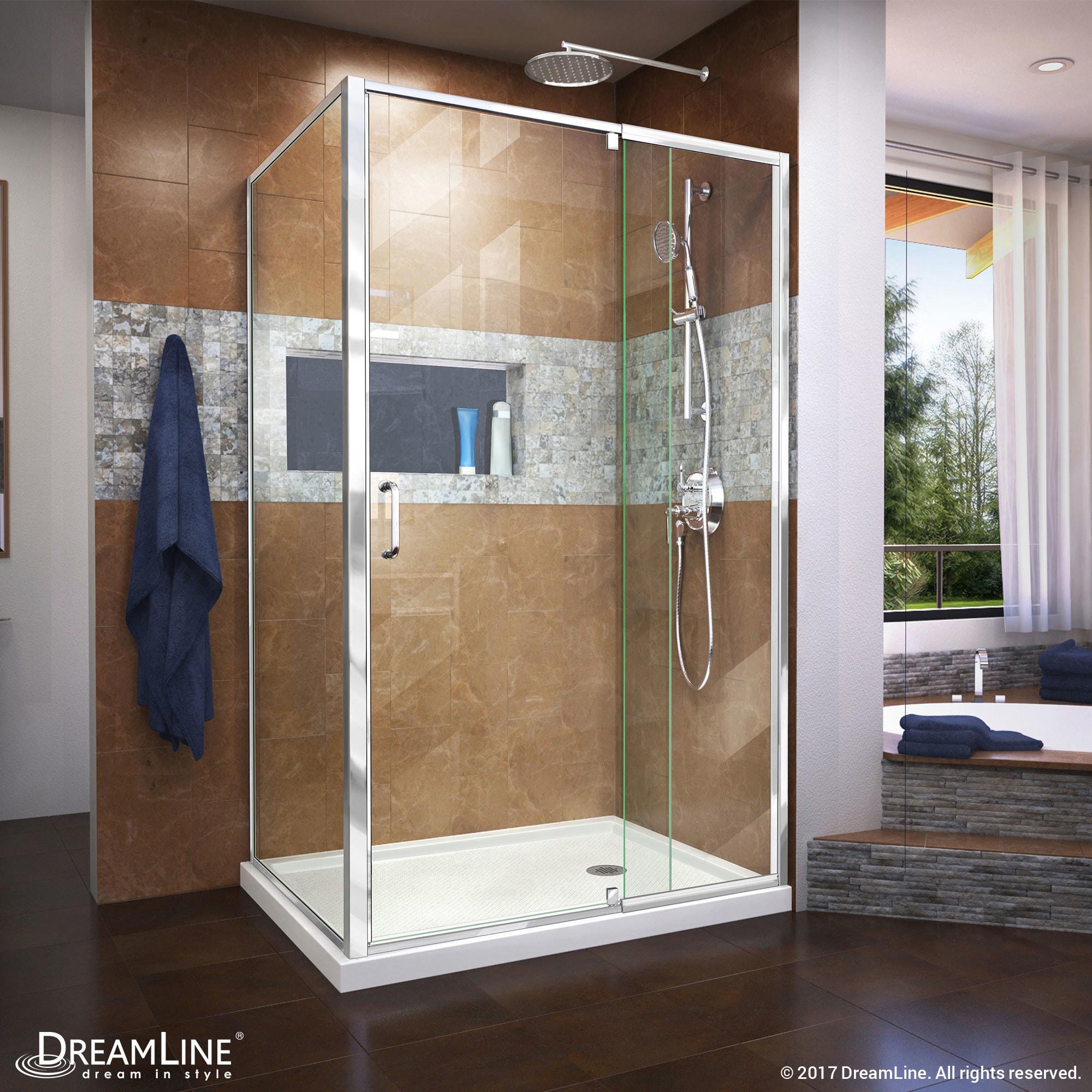 Shop DreamLine Flex 36 in. D x 48 in. W x 74 3/4 in. H Frameless ...
