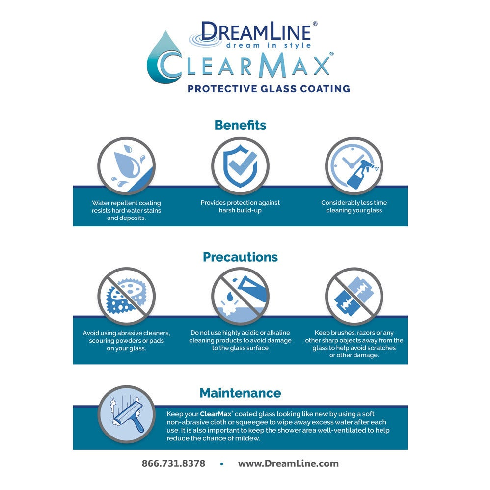 DreamLine Essence-H 56-60 in. W x 60 in. H Frameless Bypass Tub Door ...