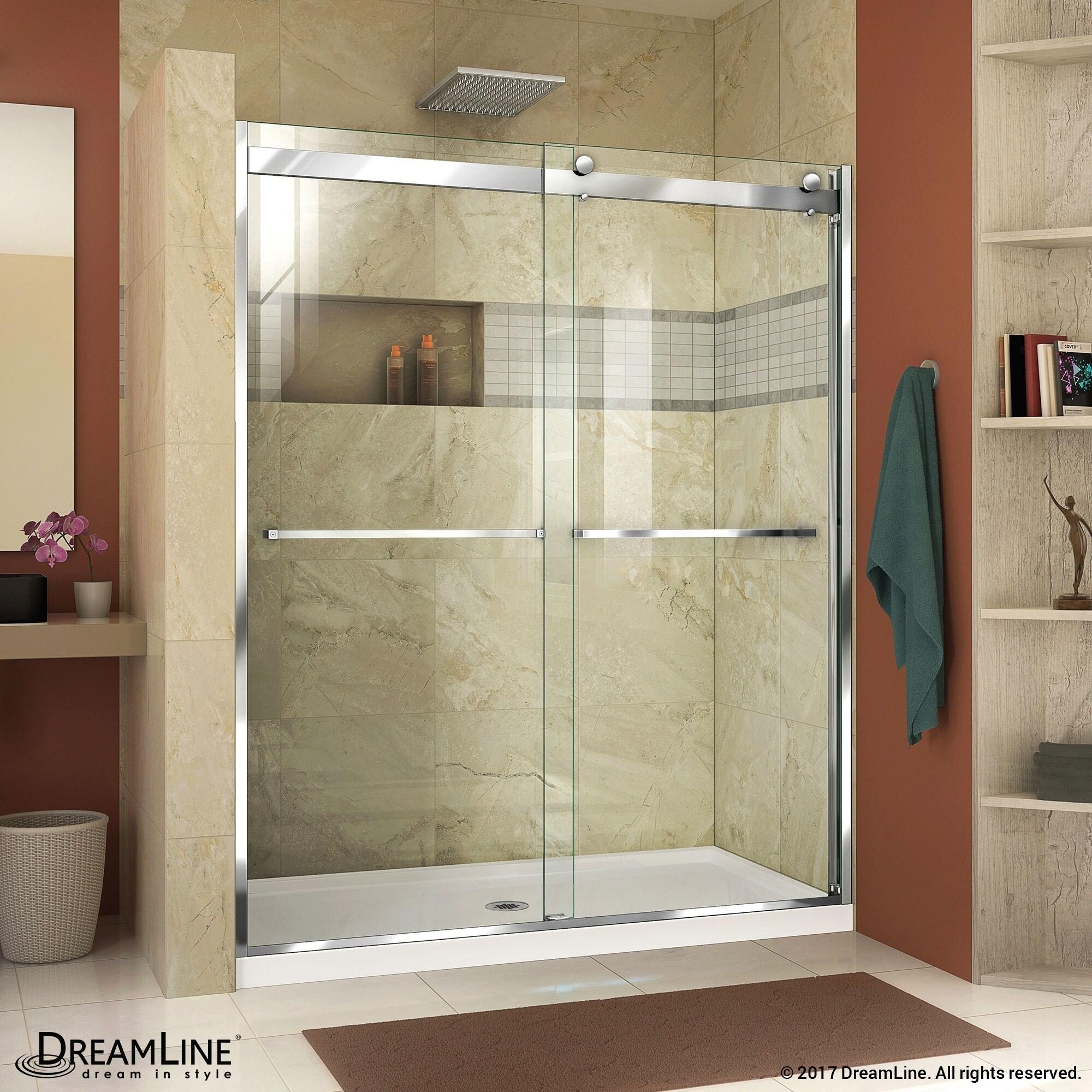 Shop DreamLine Essence-H 56-60 in. W x 76 in. H Frameless Bypass ...