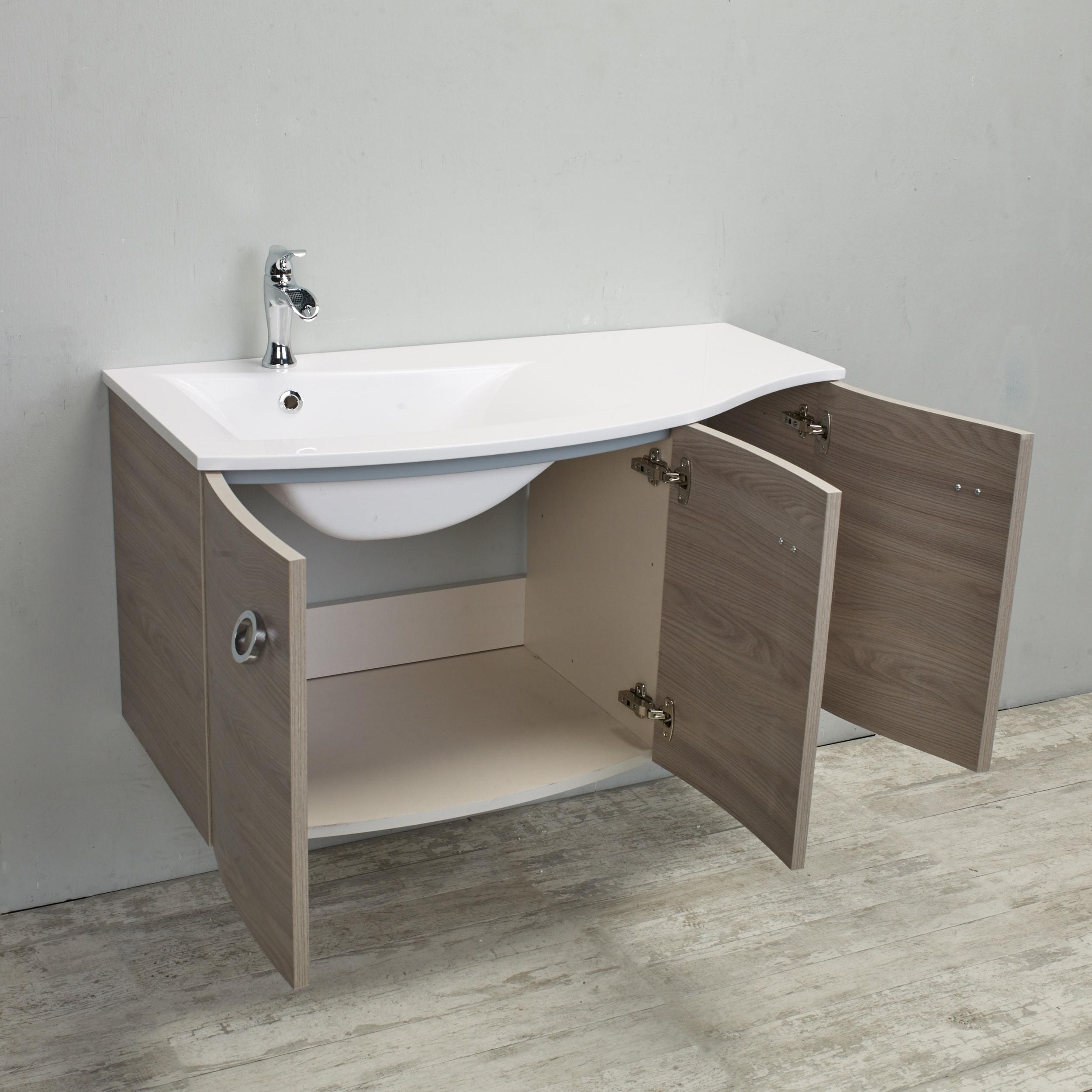 "Shop Eviva Romania 42"" Grey Oak Bathroom Vanity - Free Shipping Today - Overstock.com - 18694593"