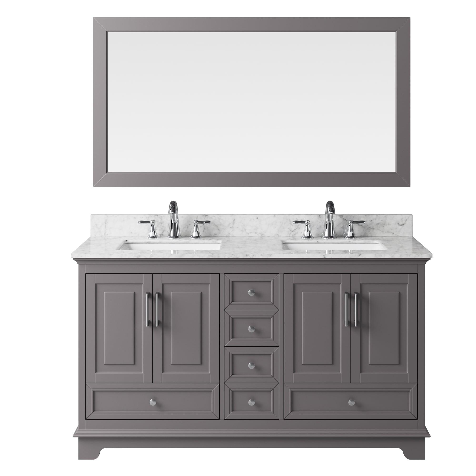 Shop Exclusive Heritage Taupe Grey Wood 60-inch Double-sink Bathroom ...