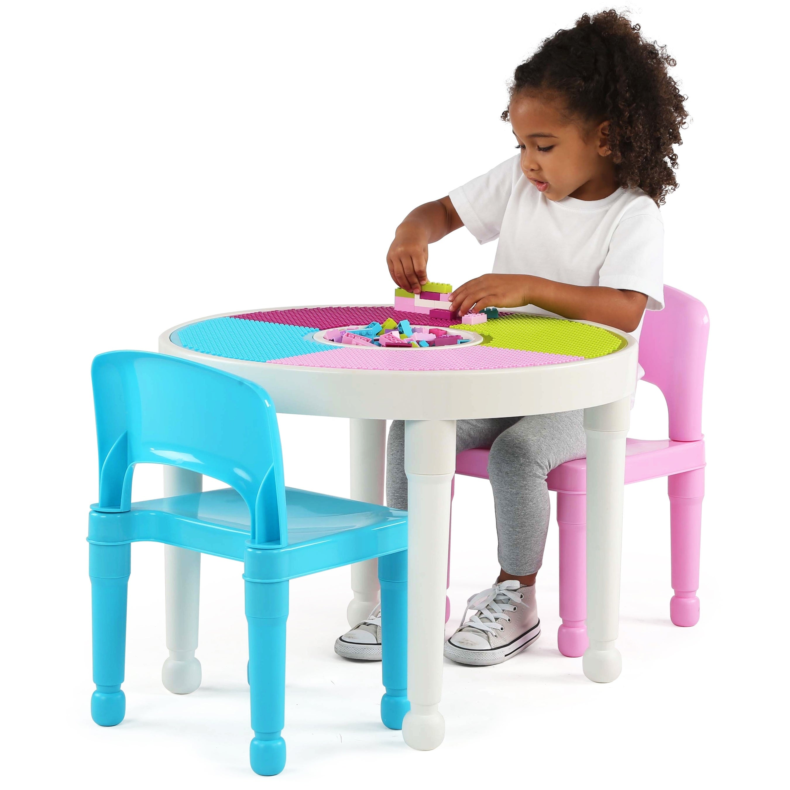 Shop Kids 2-in-1 Plastic Activity Table & 2 Chairs Set, White/Bright ...