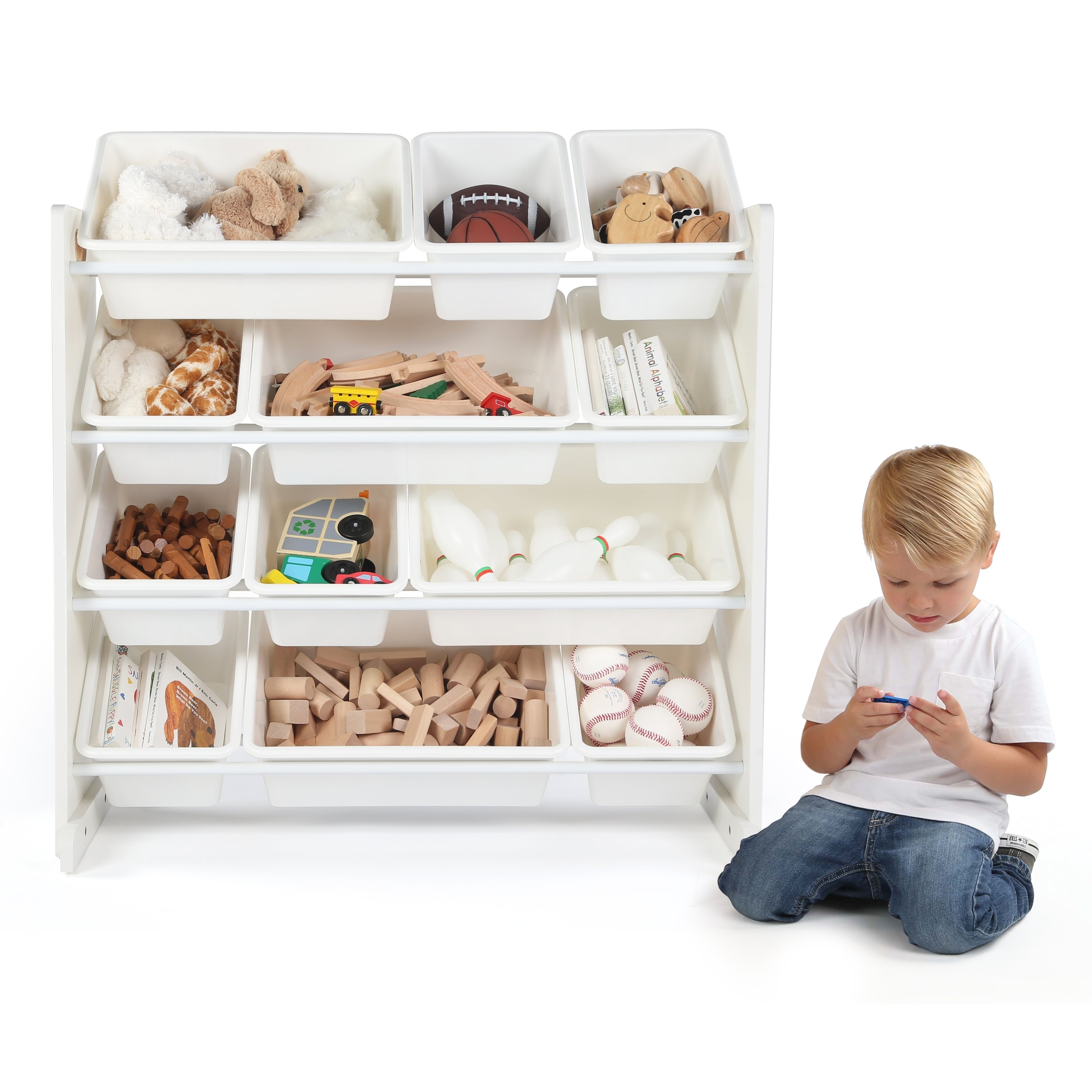 Cambridge Kids Toy Storage Organizer w/ 12 Plastic Bins, White/White ...
