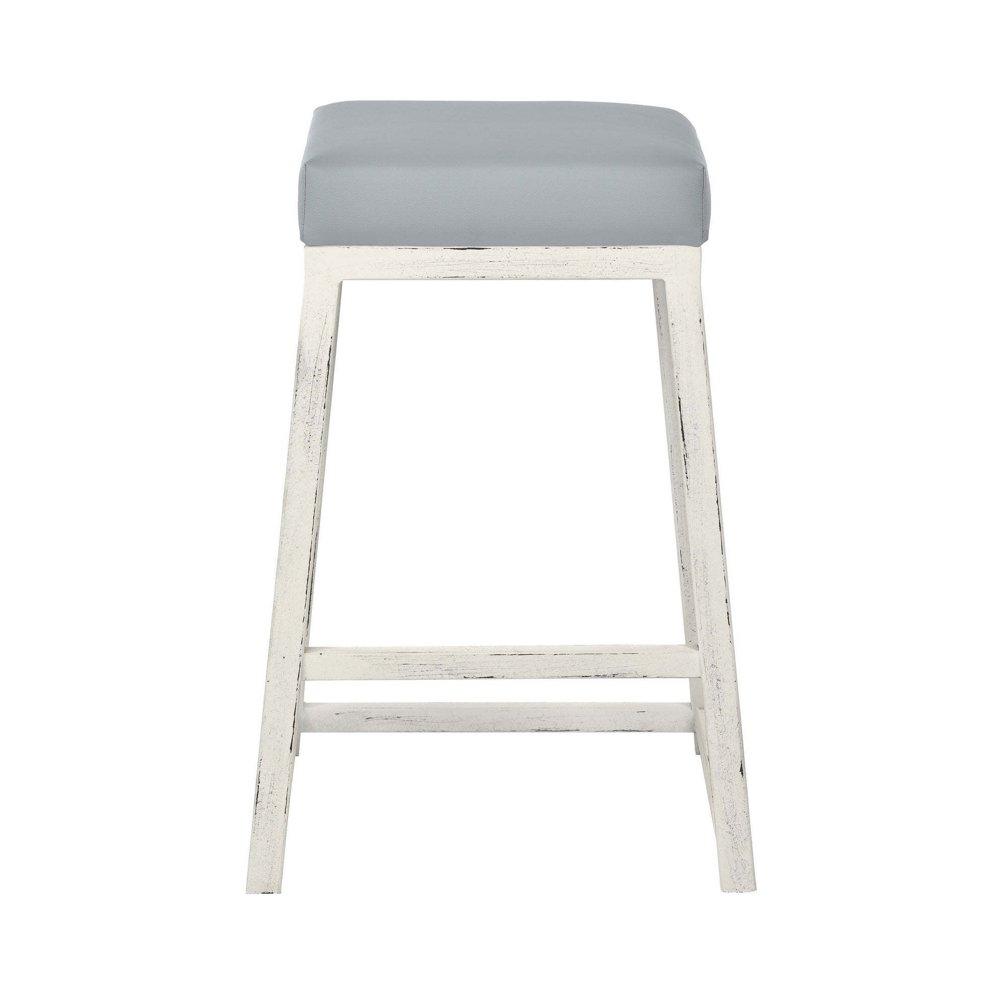 Haley 26 Counter Height Metal Backless Barstool In Gray Faux Leather And Distressed White Free Shipping Today 18704789