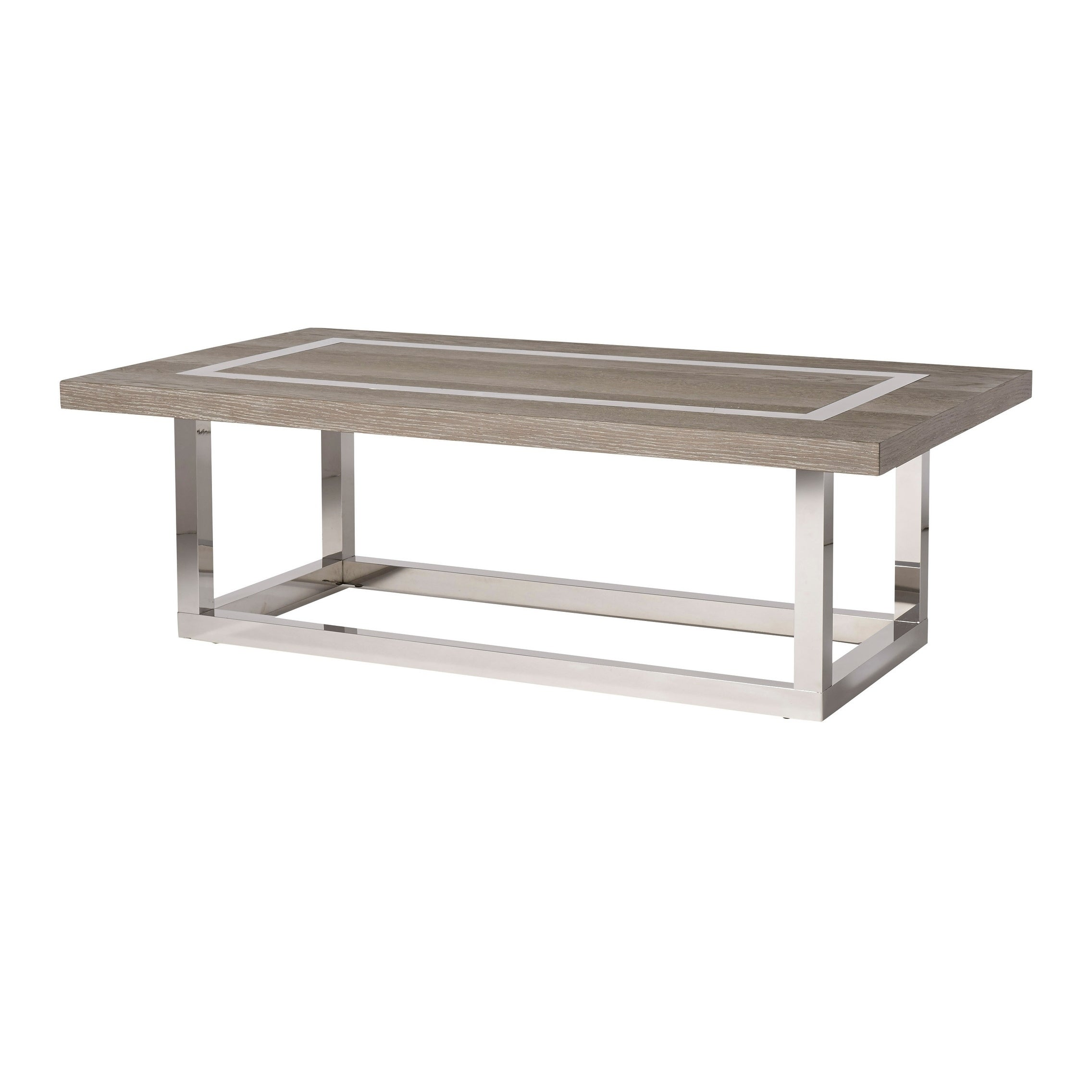 Shop Modern Flint And Stainless Steel Rectangle Wyatt Cocktail Table   Free  Shipping Today   Overstock.com   18704991