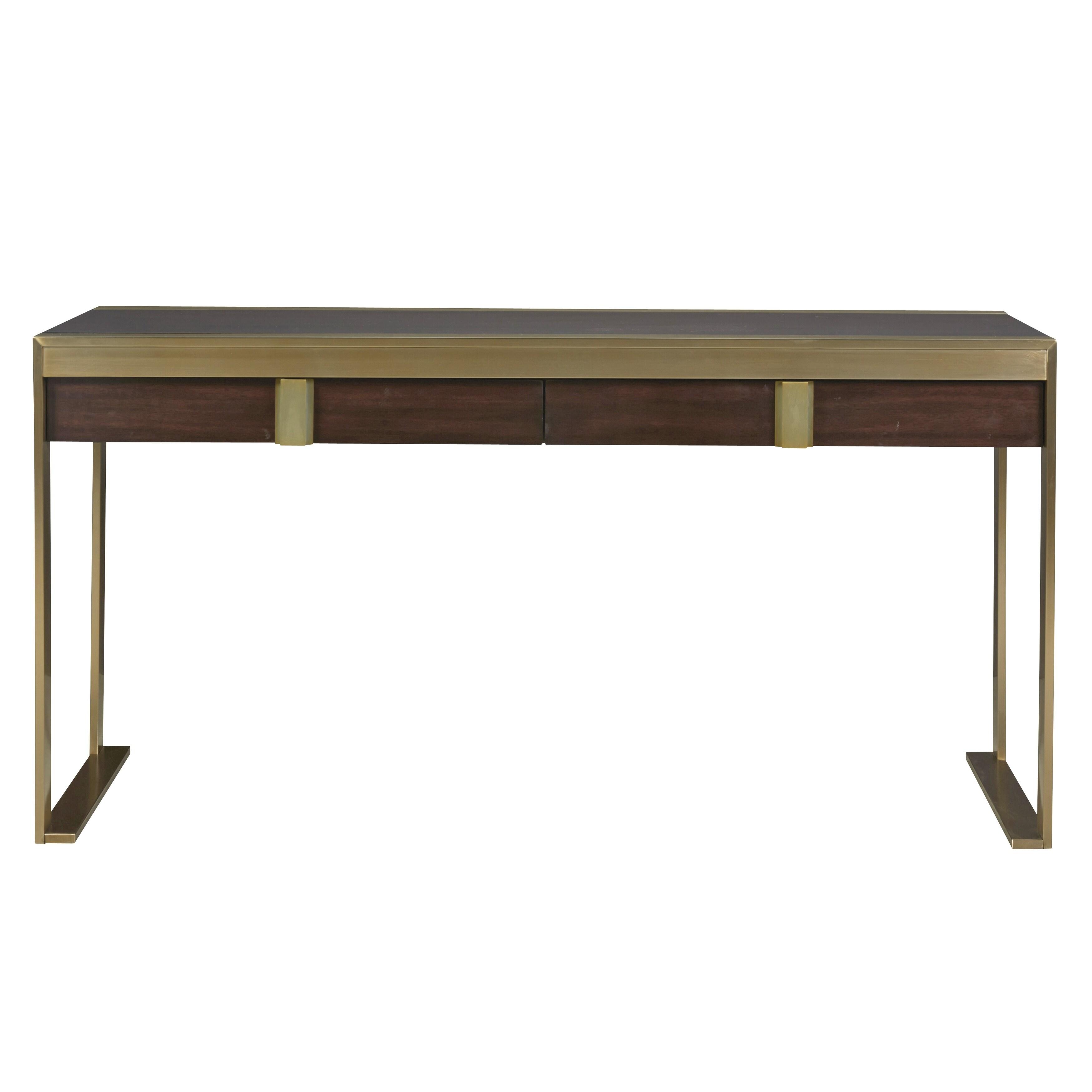 Modern Hayworth Mahogany 2 Drawer Office Desk