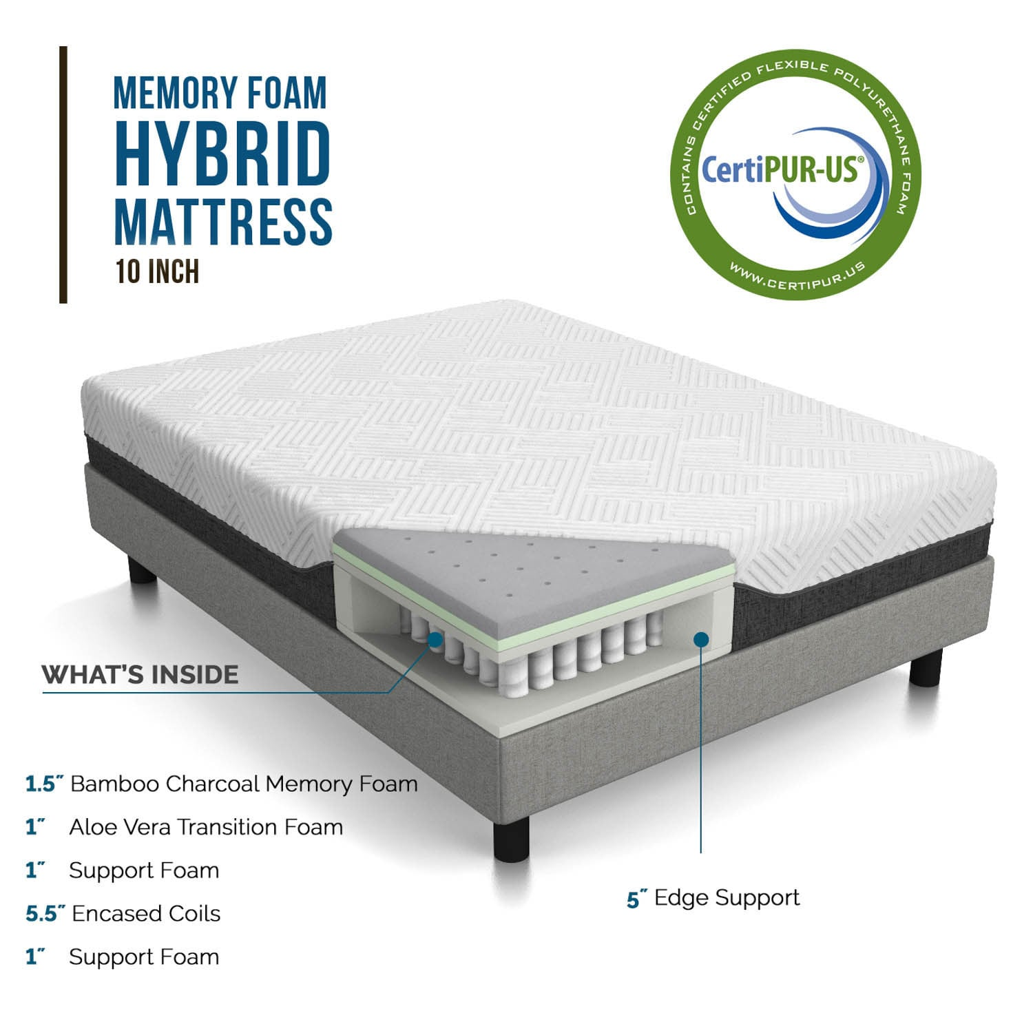 LUCID 10 inch Queen size Bamboo charcoal and Aloe Hybrid Mattress