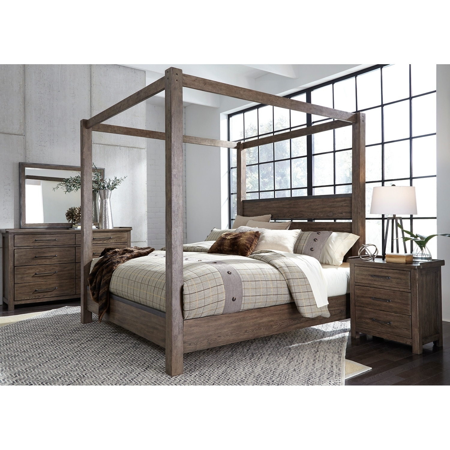 bb89a68e2bf1 Shop Sonoma Road Weather Beaten Bark King Canopy Bed - On Sale ...