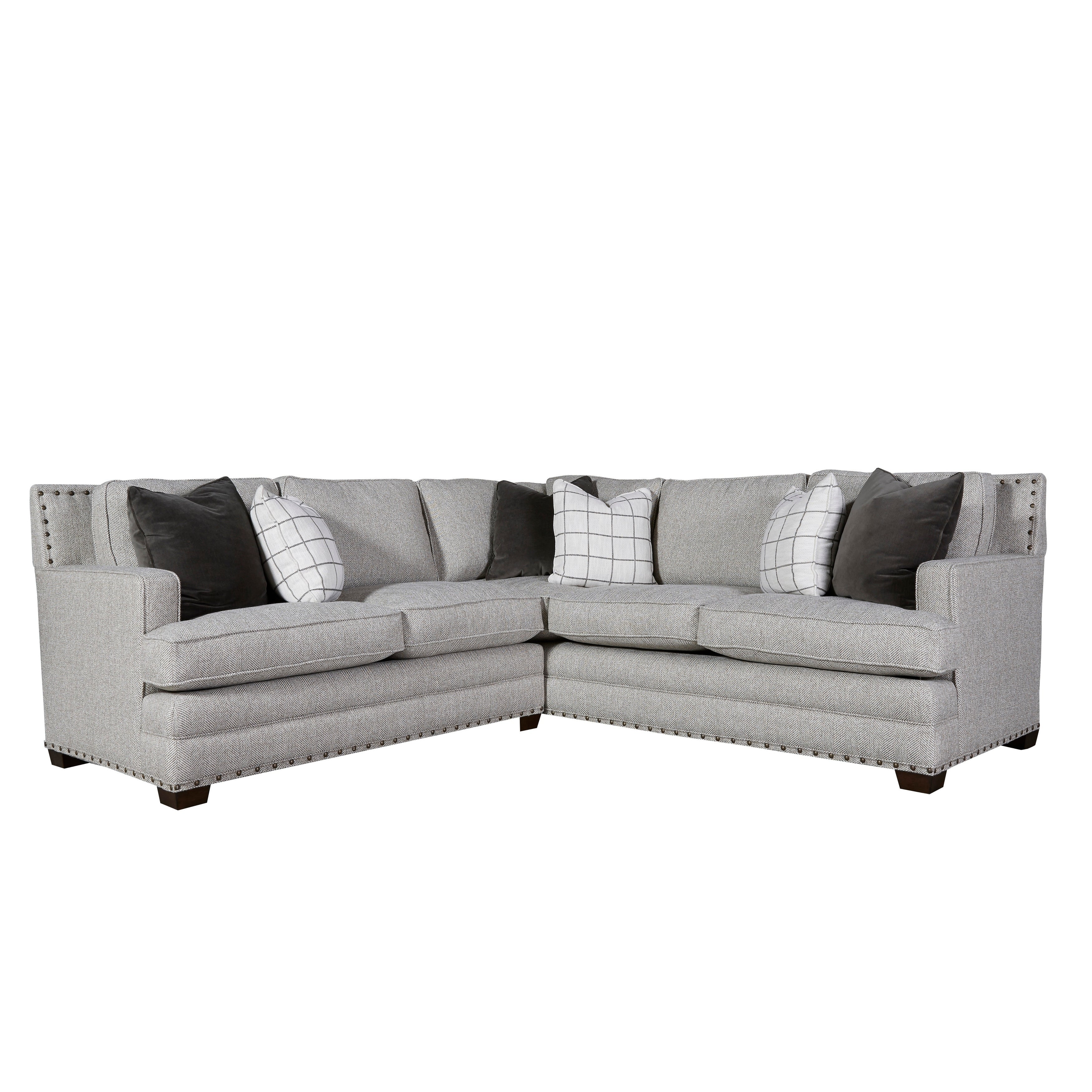 Curated Grey Nailhead Riley Sectional Sofa