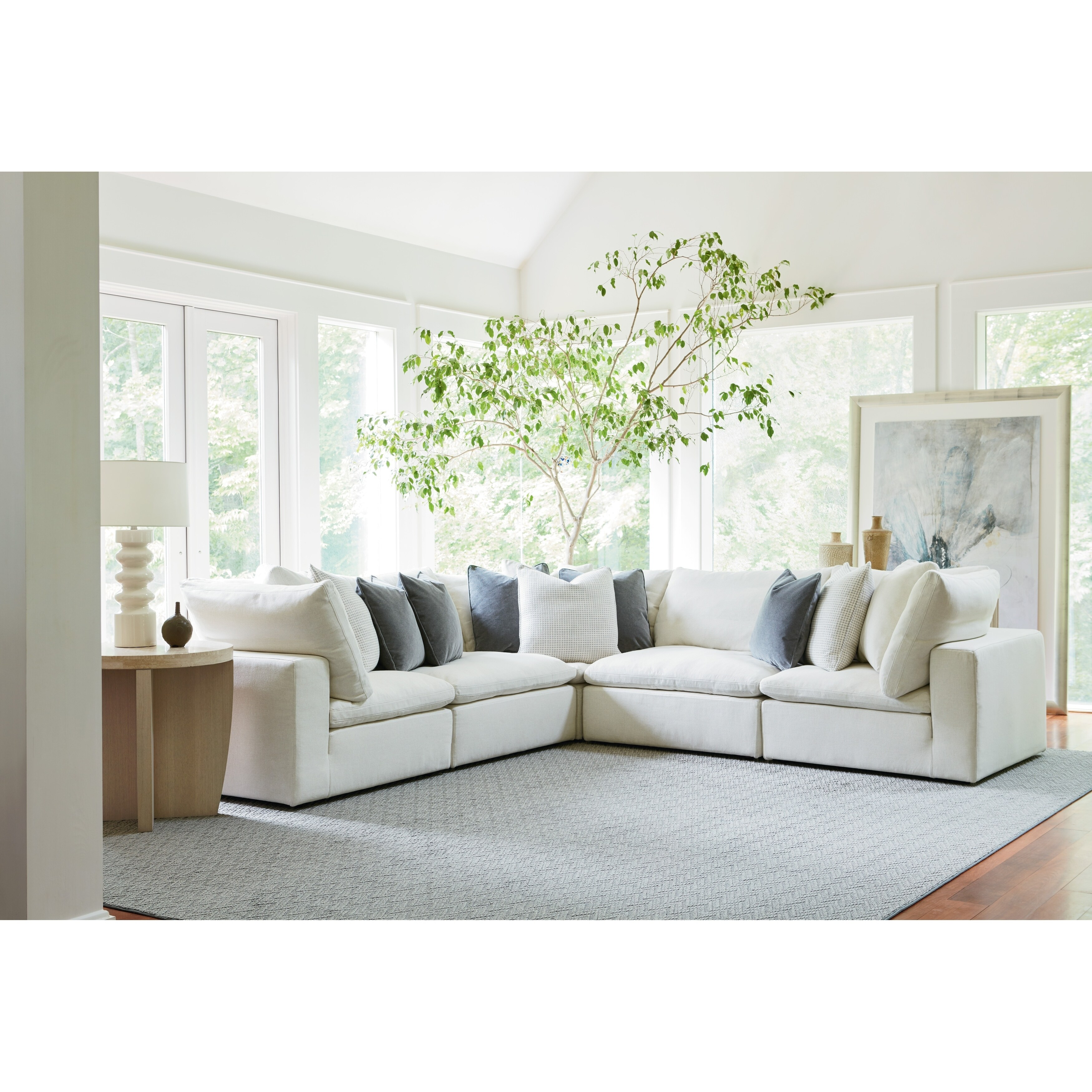 Shop Curated Ivory 5-piece Palmer Sectional Sofa - Free Shipping ...