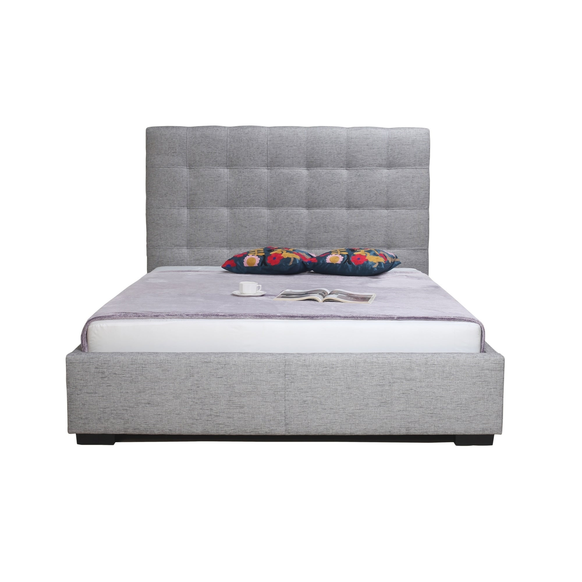 Aurelle Home Belle Light Grey California King Upholstered Storage Bed On Free Shipping Today 18706499