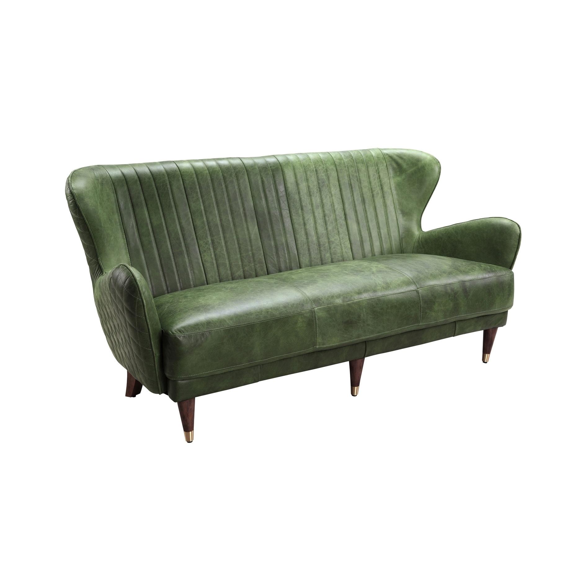 Shop Aurelle Home Copper Green Leather Mid Century Modern Sofa On