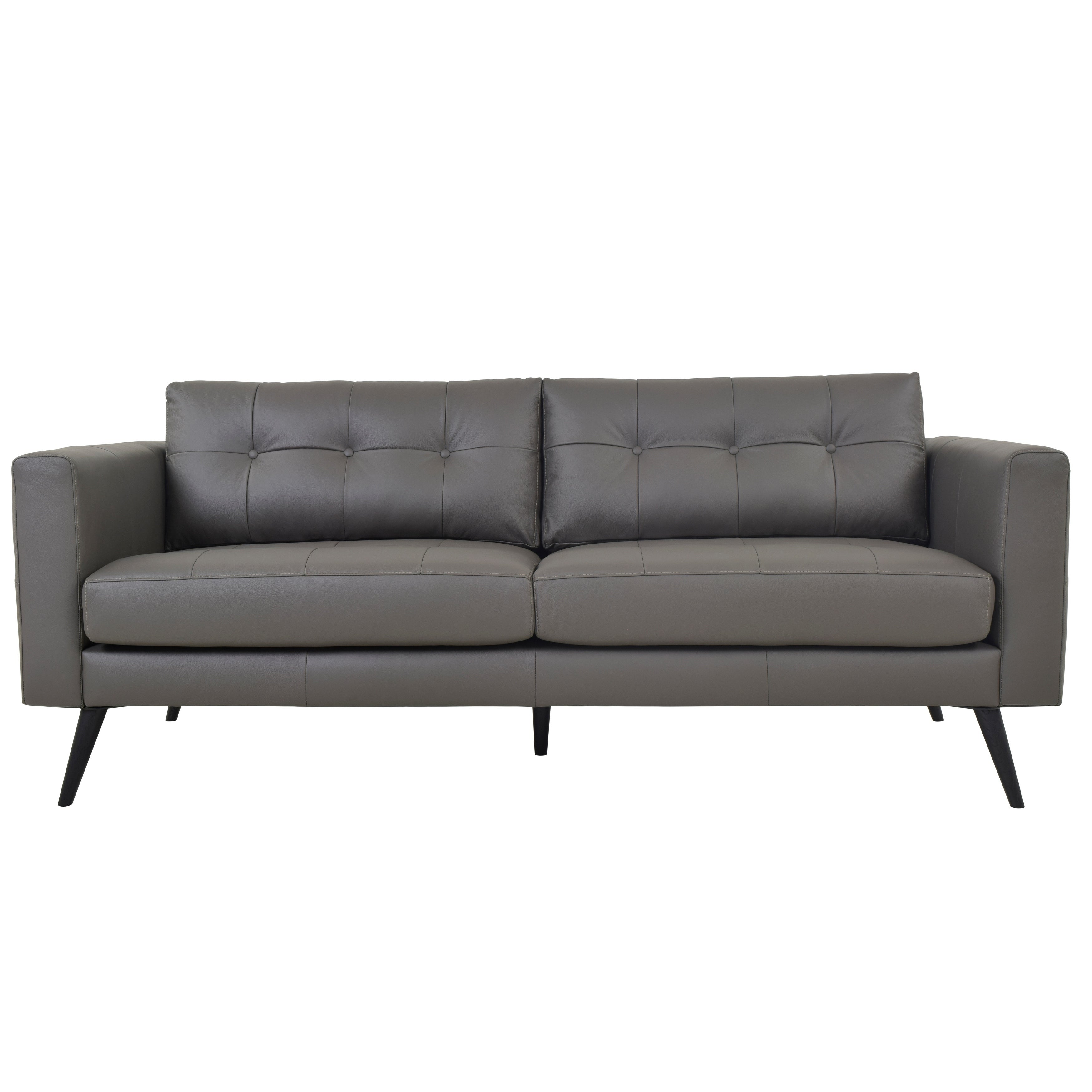 Shop Aurelle Home Scandinavian Soft Leather Sofa   On Sale   Free Shipping  Today   Overstock.com   18706992