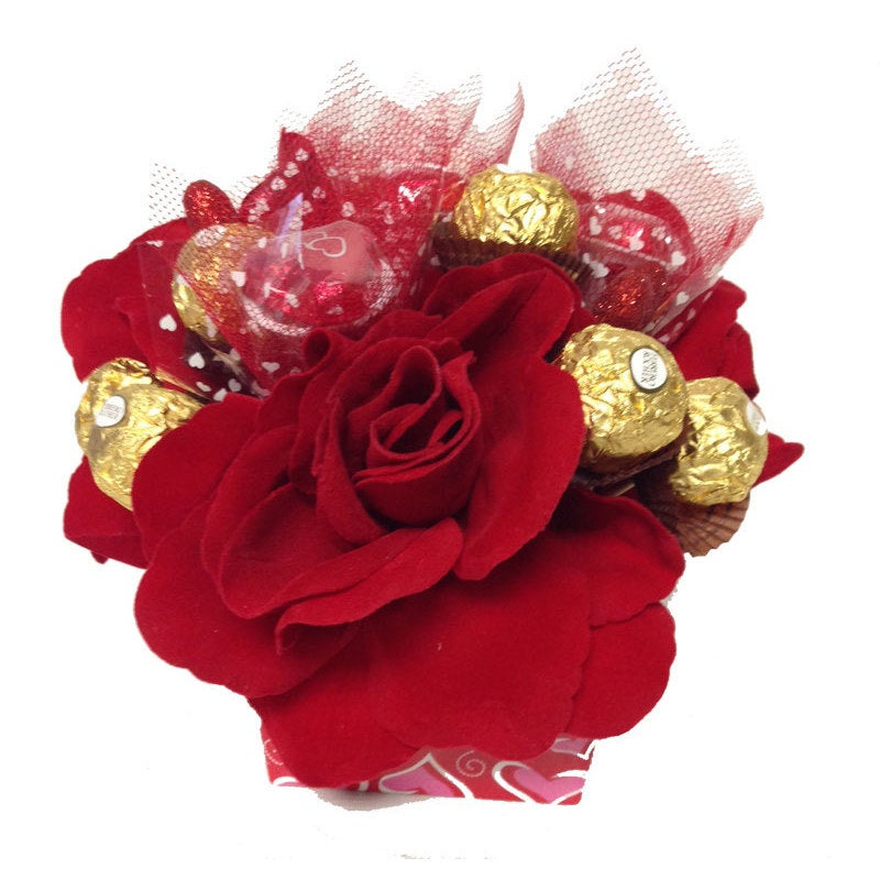 Shop Red Rose Ferrero Rocher Candy Bouquet - Free Shipping On Orders ...