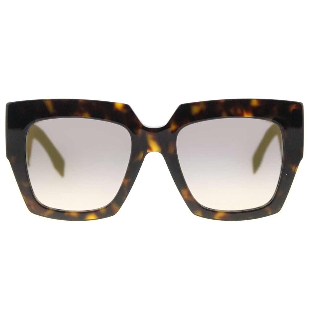 408b2c7cfd9c Shop Fendi Square FF 0263 086 Womens Dark Havana Frame Gold Mirror Lens  Sunglasses - Free Shipping Today - Overstock - 18730163