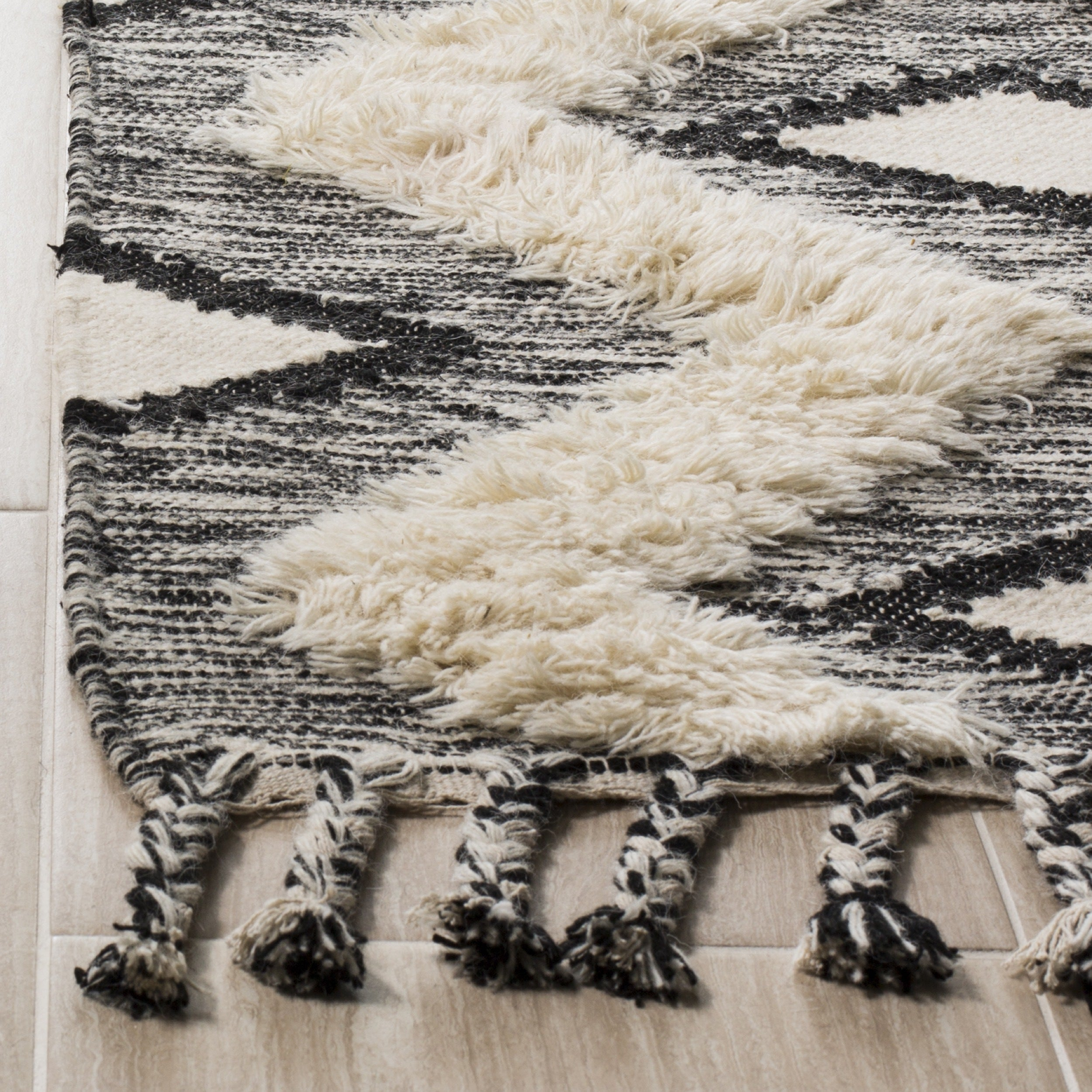 Safavieh Hand Knotted Kenya Black Ivory Wool Rug 6 X 9 On Free Shipping Today 18731766