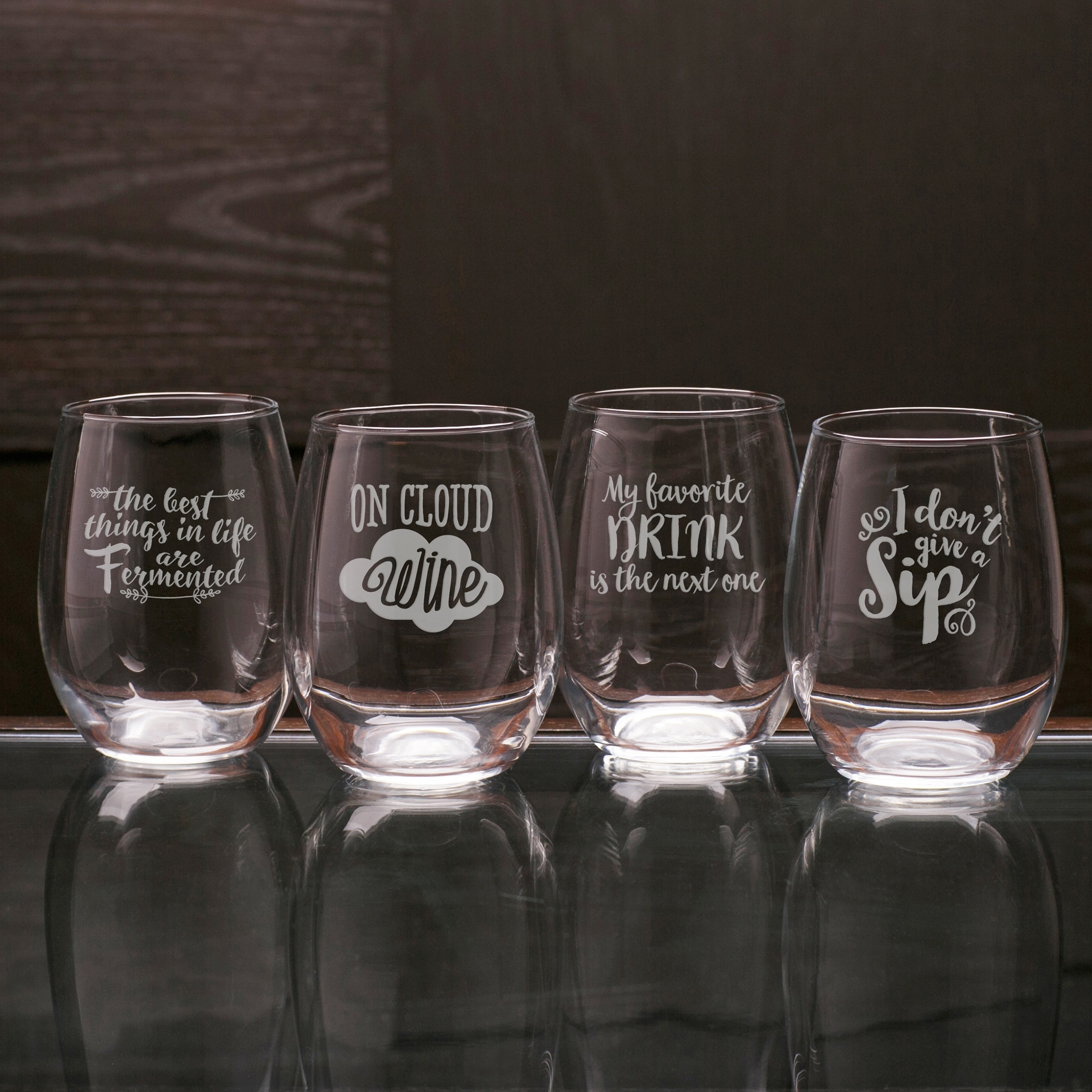 Pour Decisions Ortment Stemless Wine Set Of 4 On Free Shipping Orders Over 45 18732260