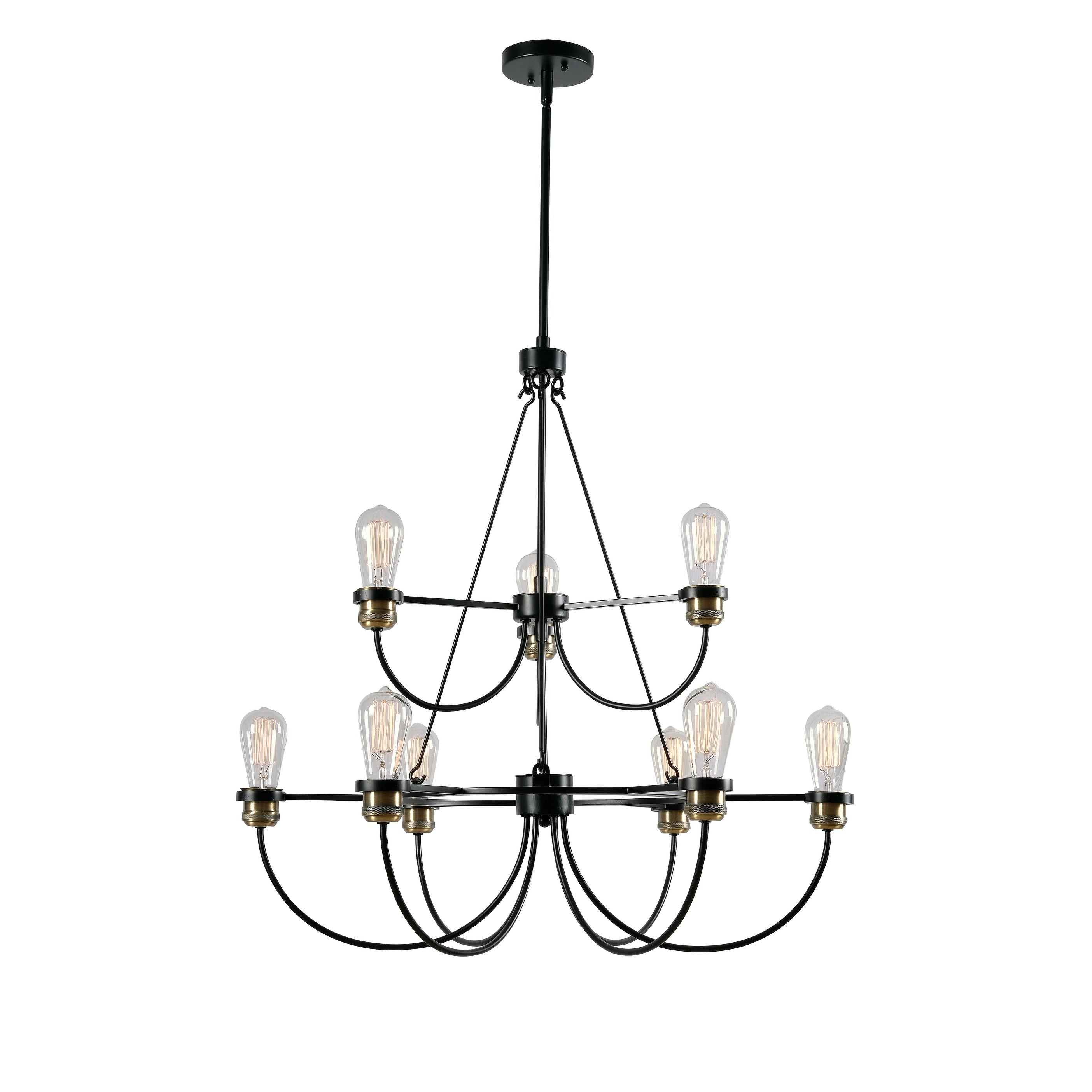 shop aiden black 9 light 2 tier chandelier on sale free shipping