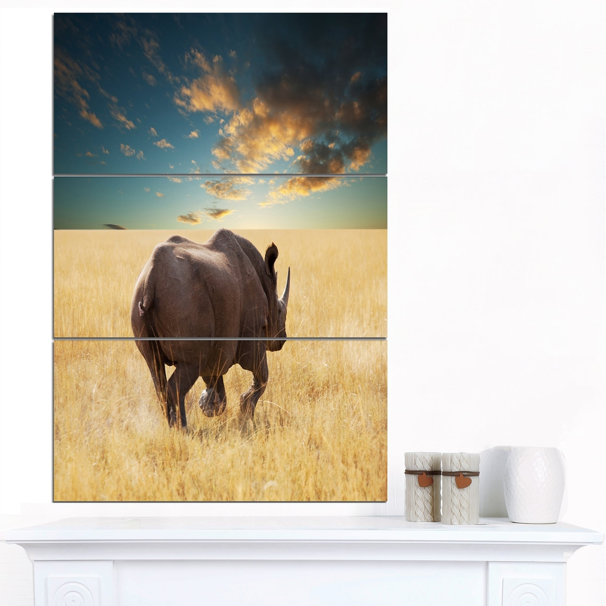 Designart \'Giant Rhino under Cloudy Sky\' Extra Large African Art ...