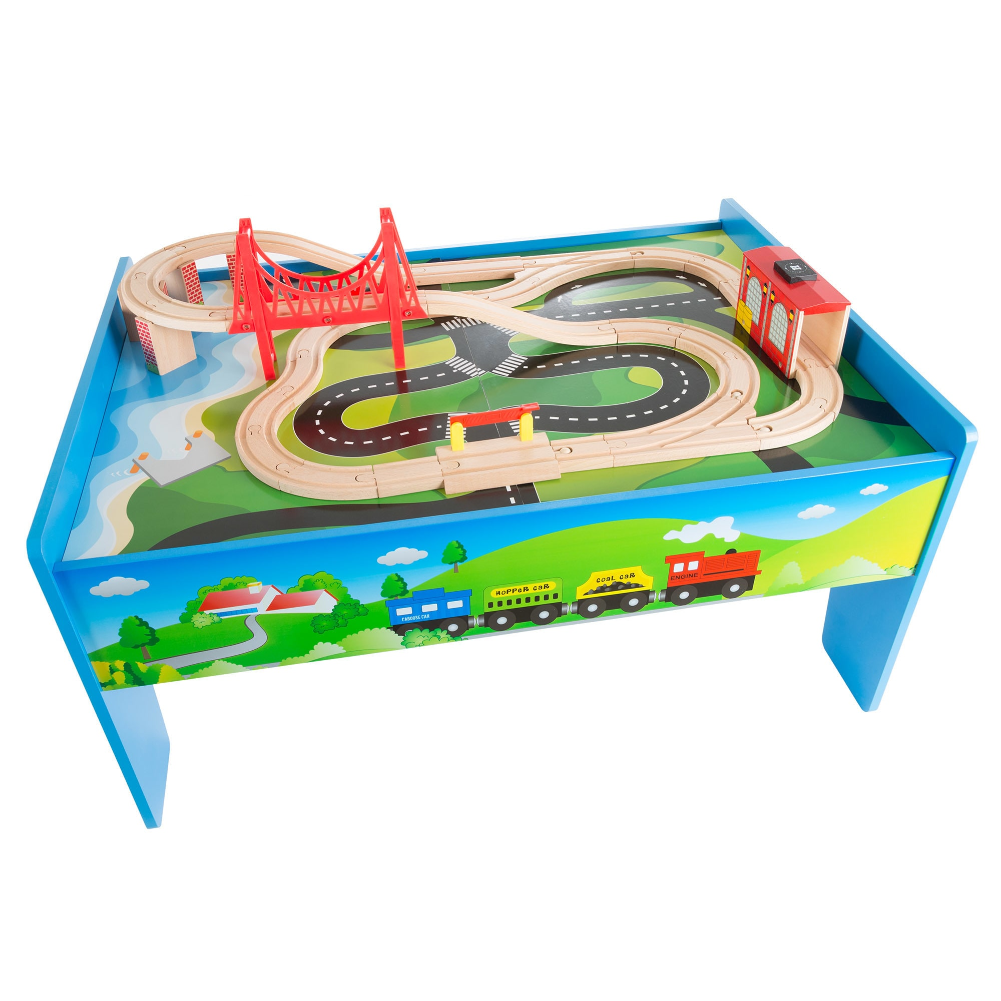 Wooden Train Set Table for Kids Deluxe Had Painted Wooden Set by Hey! Play! - Free Shipping Today - Overstock.com - 24811022  sc 1 st  Overstock & Wooden Train Set Table for Kids Deluxe Had Painted Wooden Set by ...