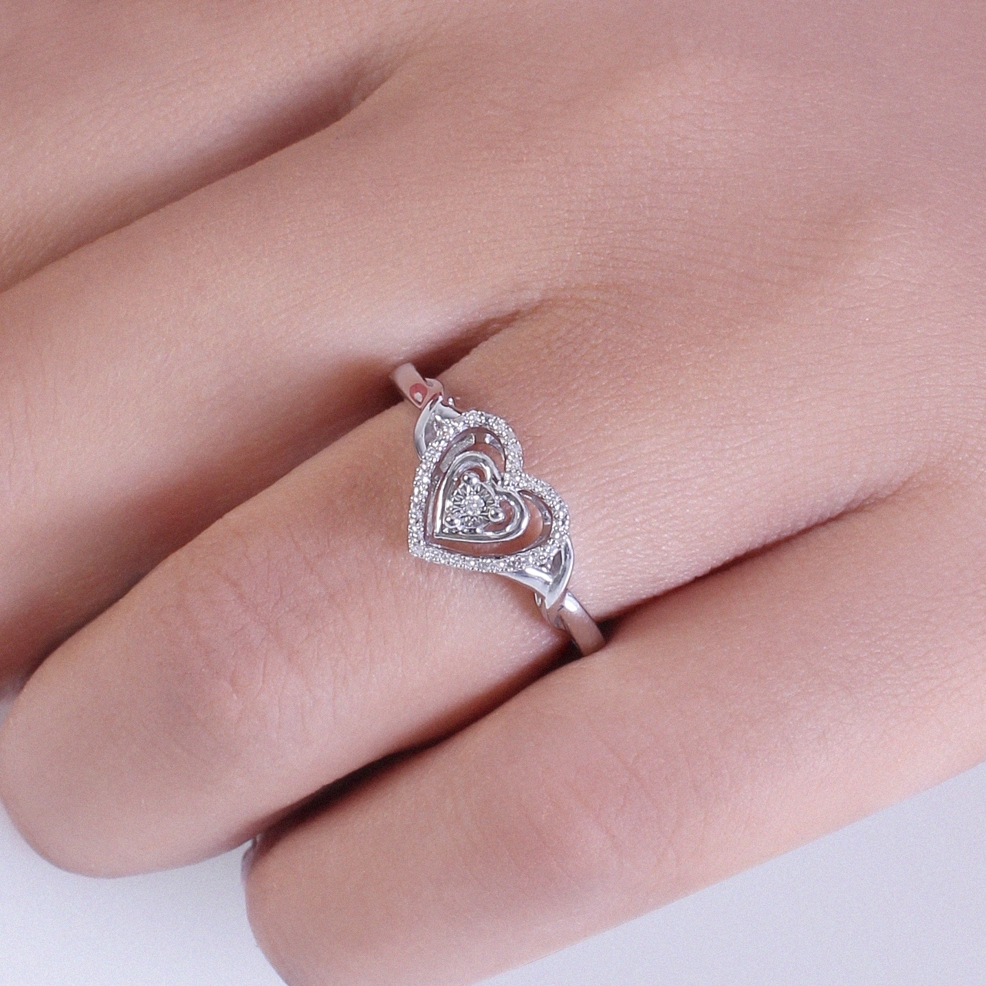 Shop Cali Trove 1/20 CT Round Diamond Heart Fashion Ring In Sterling ...