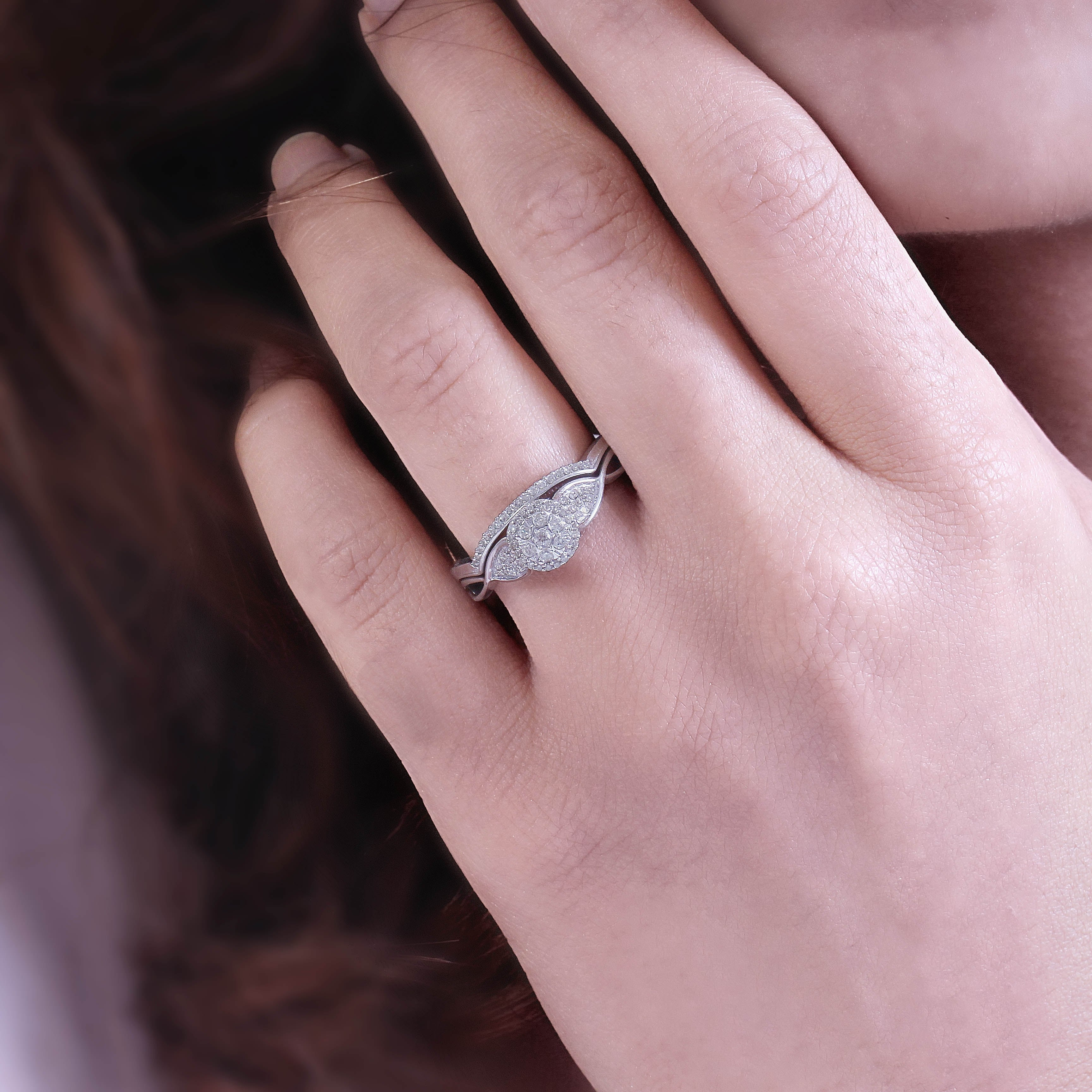Cali Trove 1/5 CT Round Diamond Wedding Engagement Set In Sterling ...