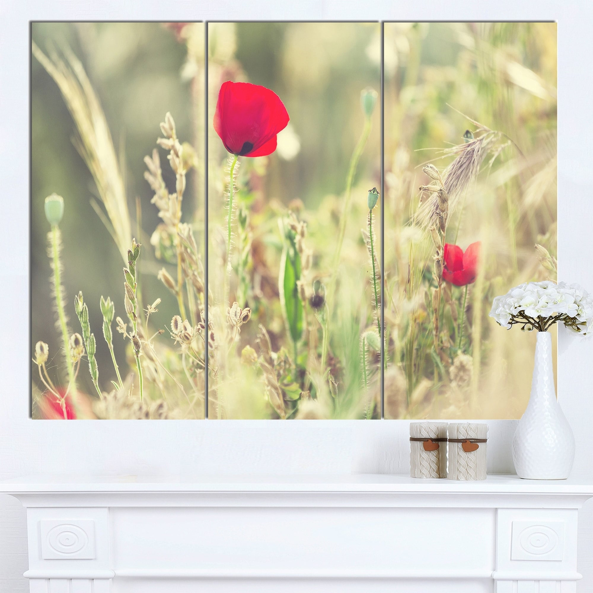 Designart \'Meadow with Wild Poppy Flowers\' Large Flower Wall Artwork ...