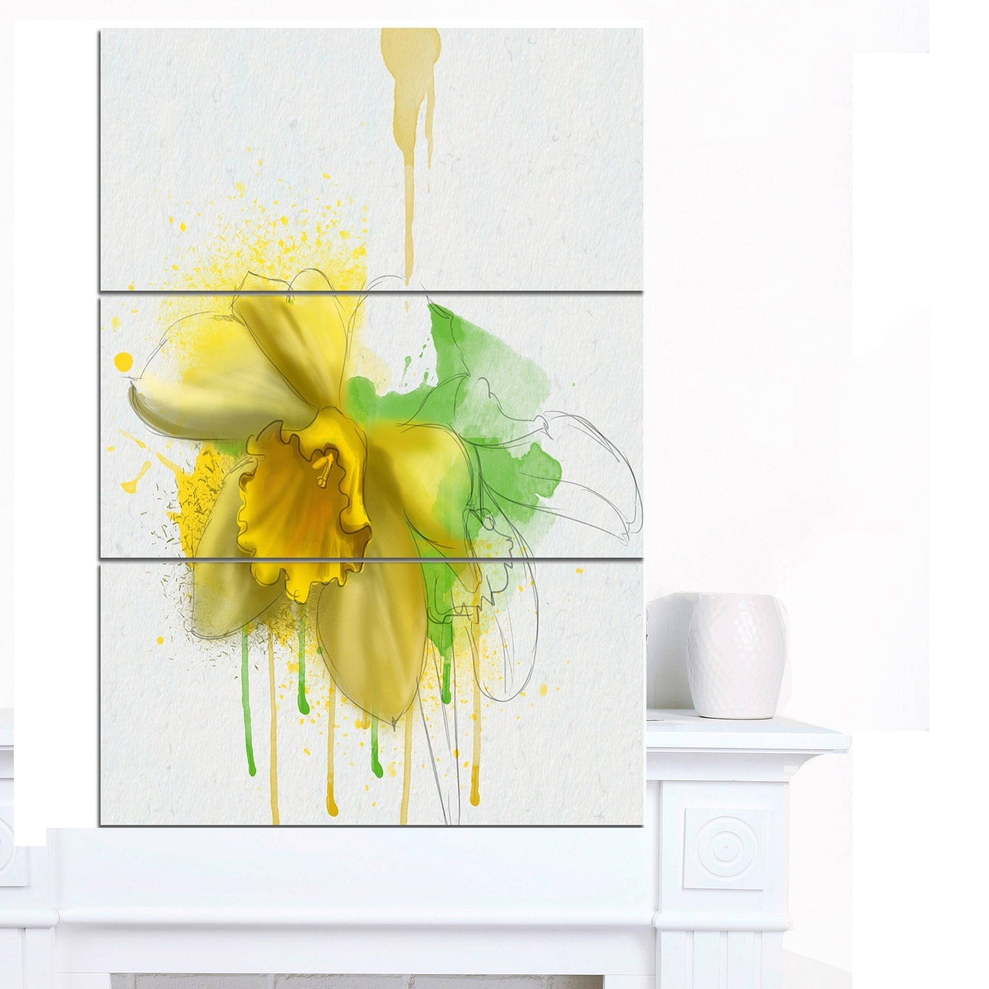 Designart \'Yellow Narcissus Flower Watercolor\' Modern Floral Canvas ...
